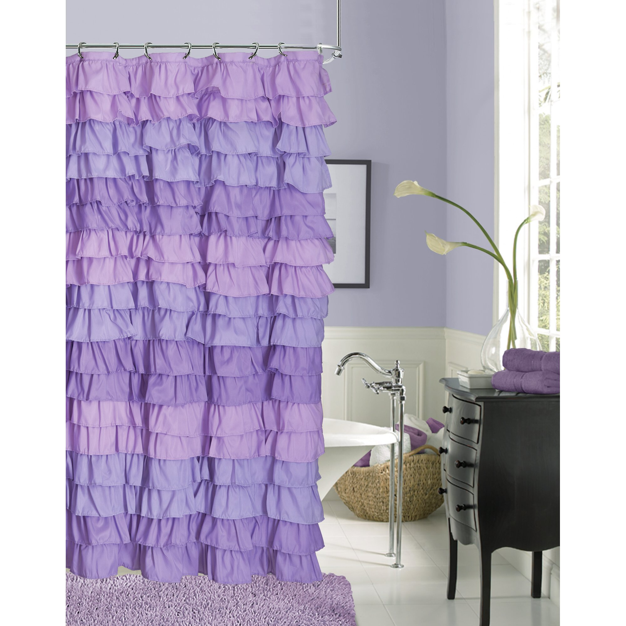 Light pink ruffle shower curtain - Dainty Home Venezia Ruffle Shower Curtain U0026 Reviews Wayfair
