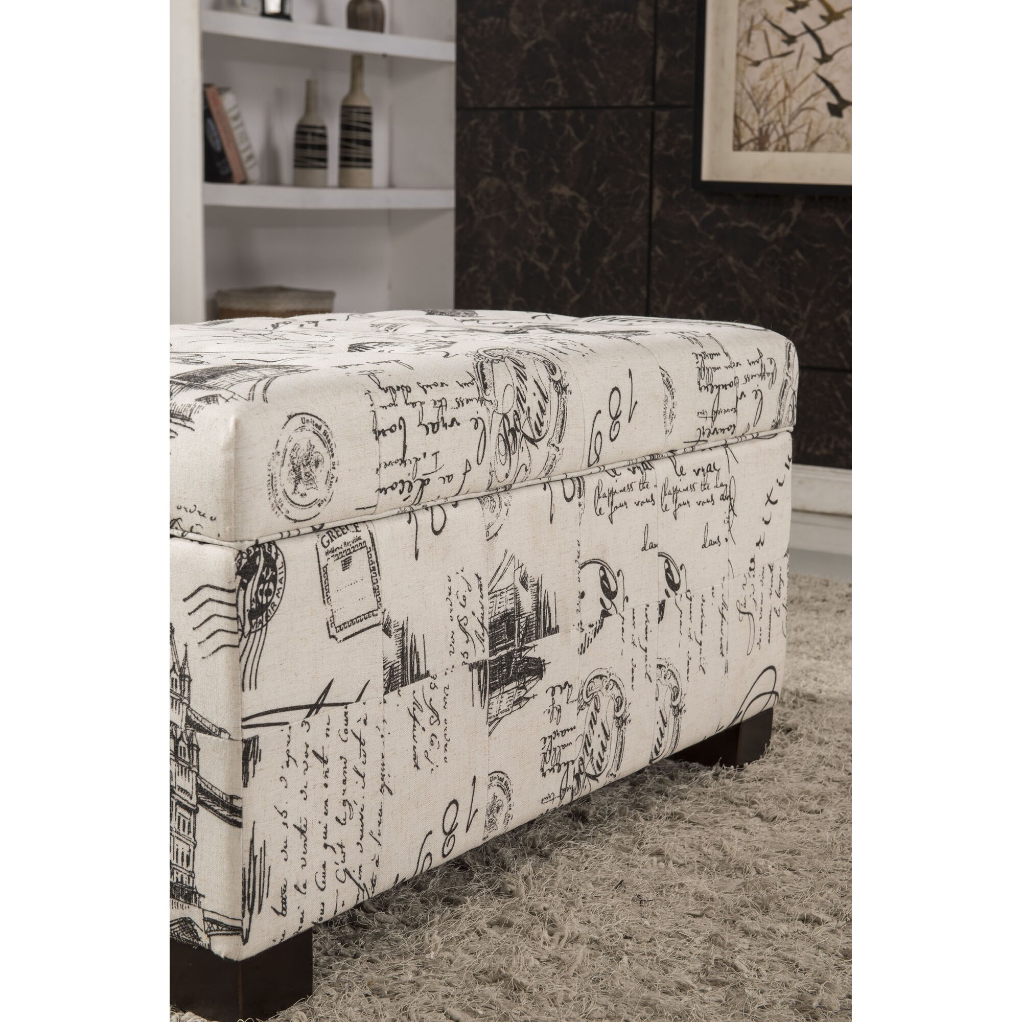 Bellasario Collection Paris Vintage French Writing Button Tufted ...