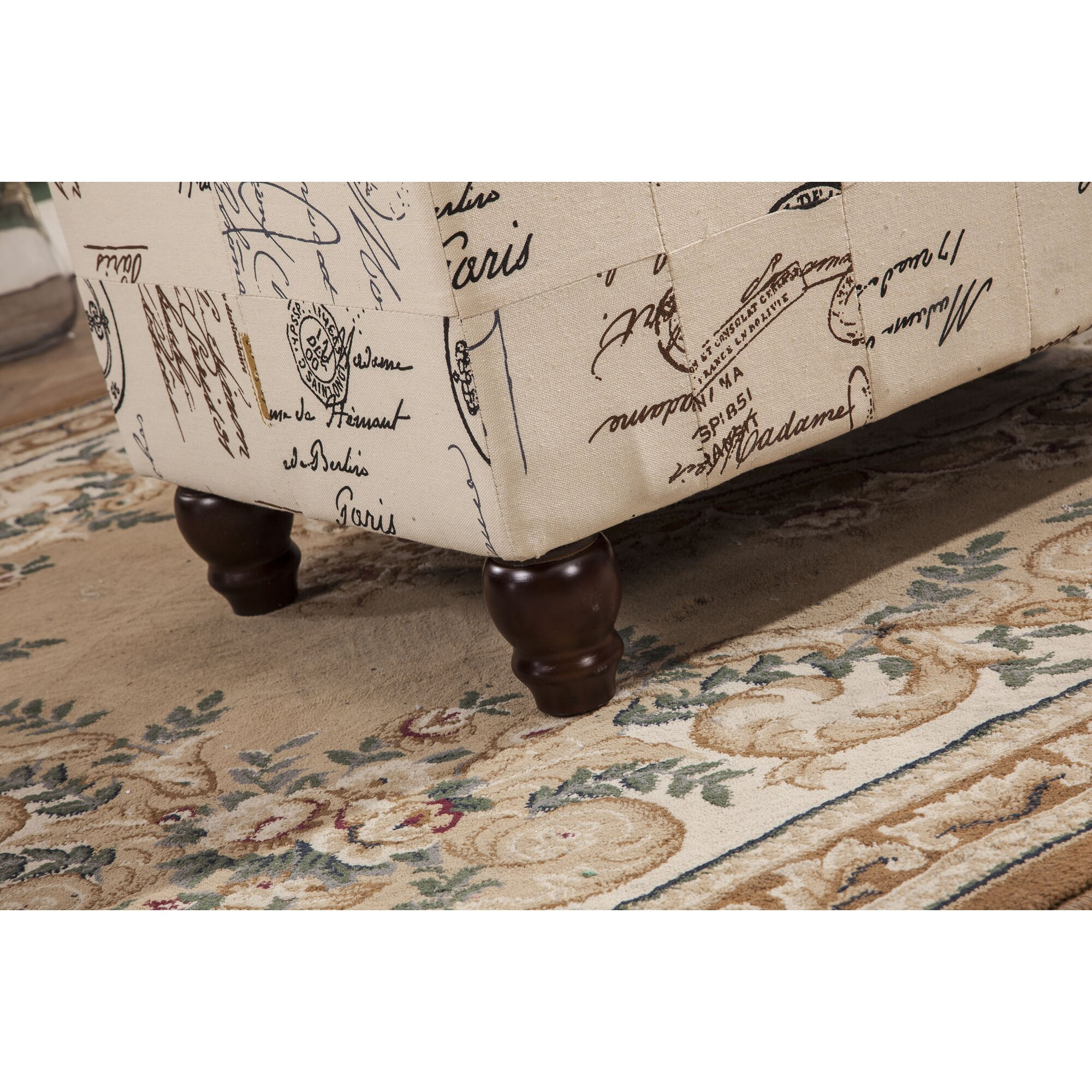 Bellasario Collection French Writing Postmark Print Tufted Wood ...