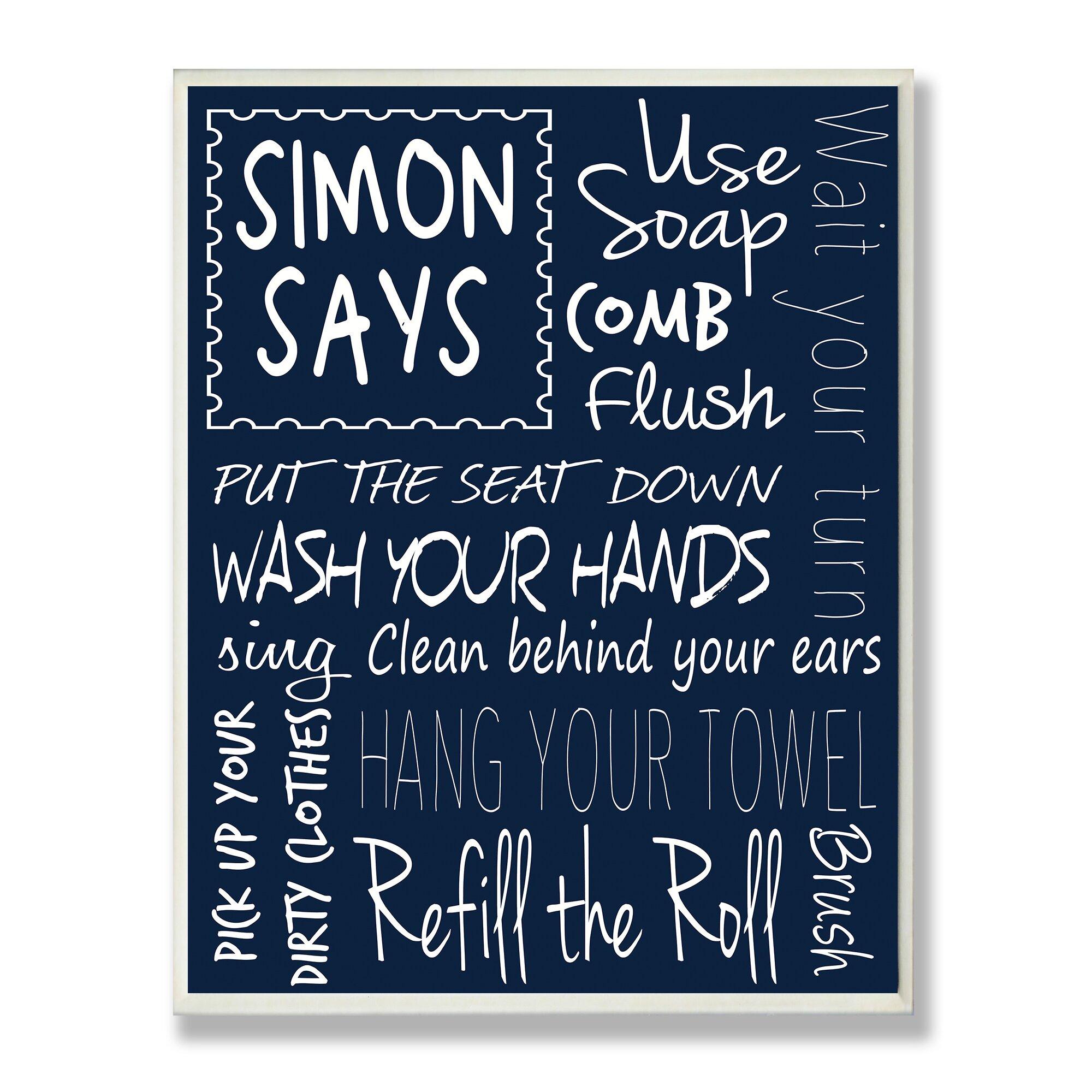 Simon Says Bathroom Rules Textual Art Wall Plaque