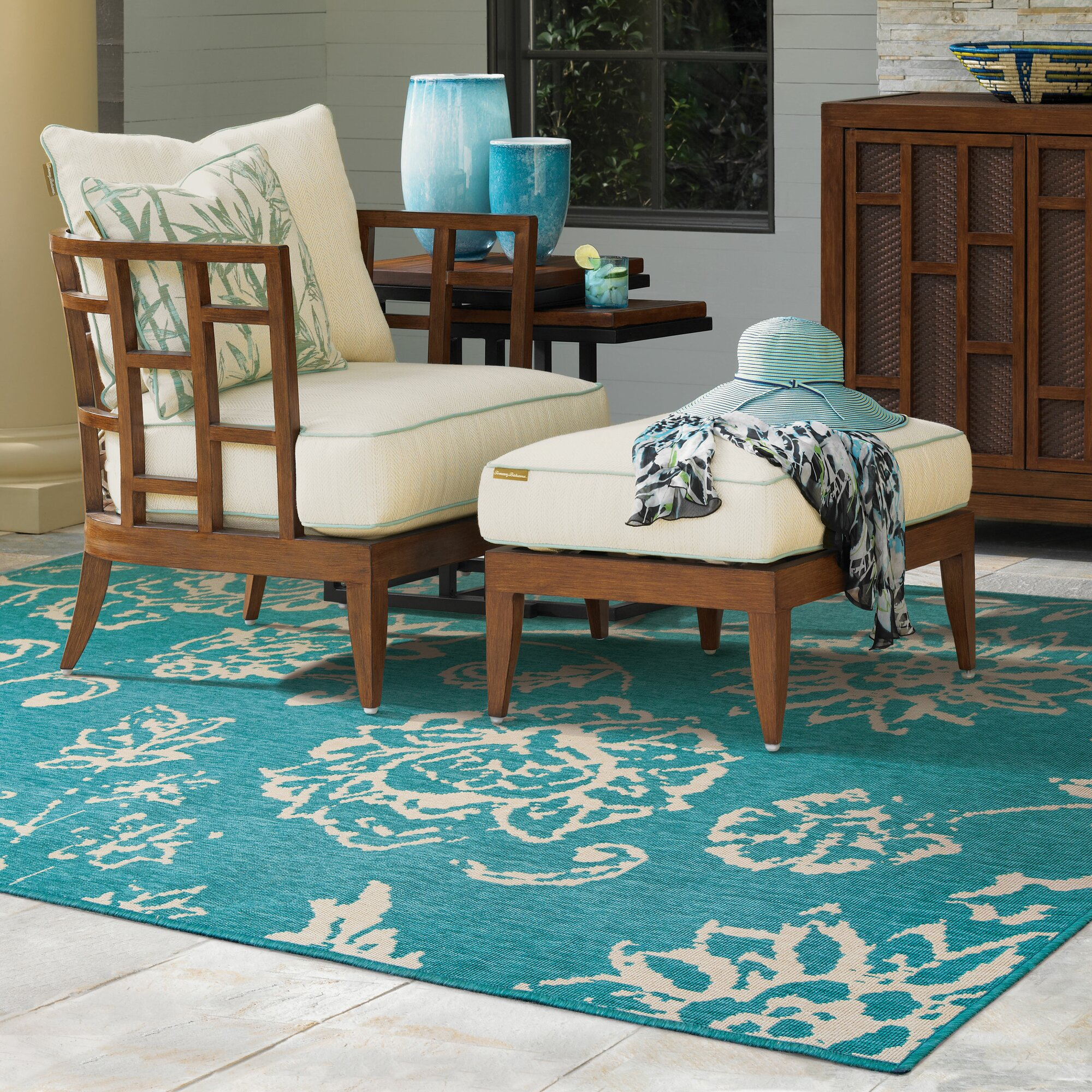 Tommy Bahama Home Seaside Teal/Beige Indoor/Outdoor Area