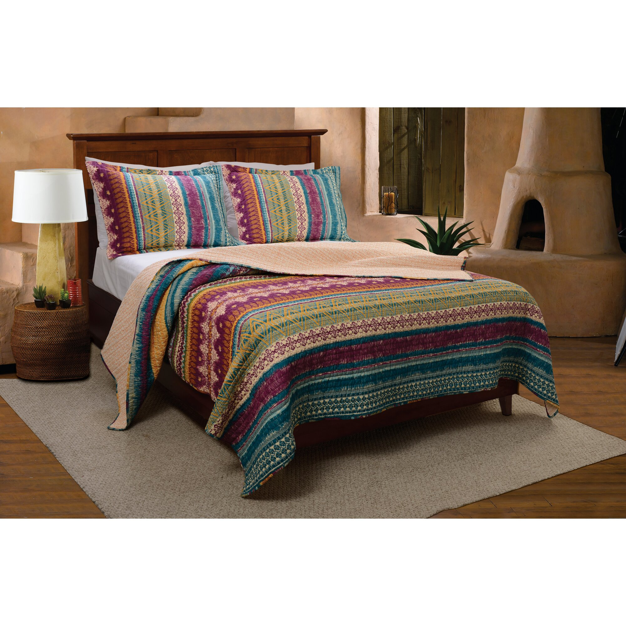 Bed sheet set with quilt - Yesilkoy Reversible Quilt Set