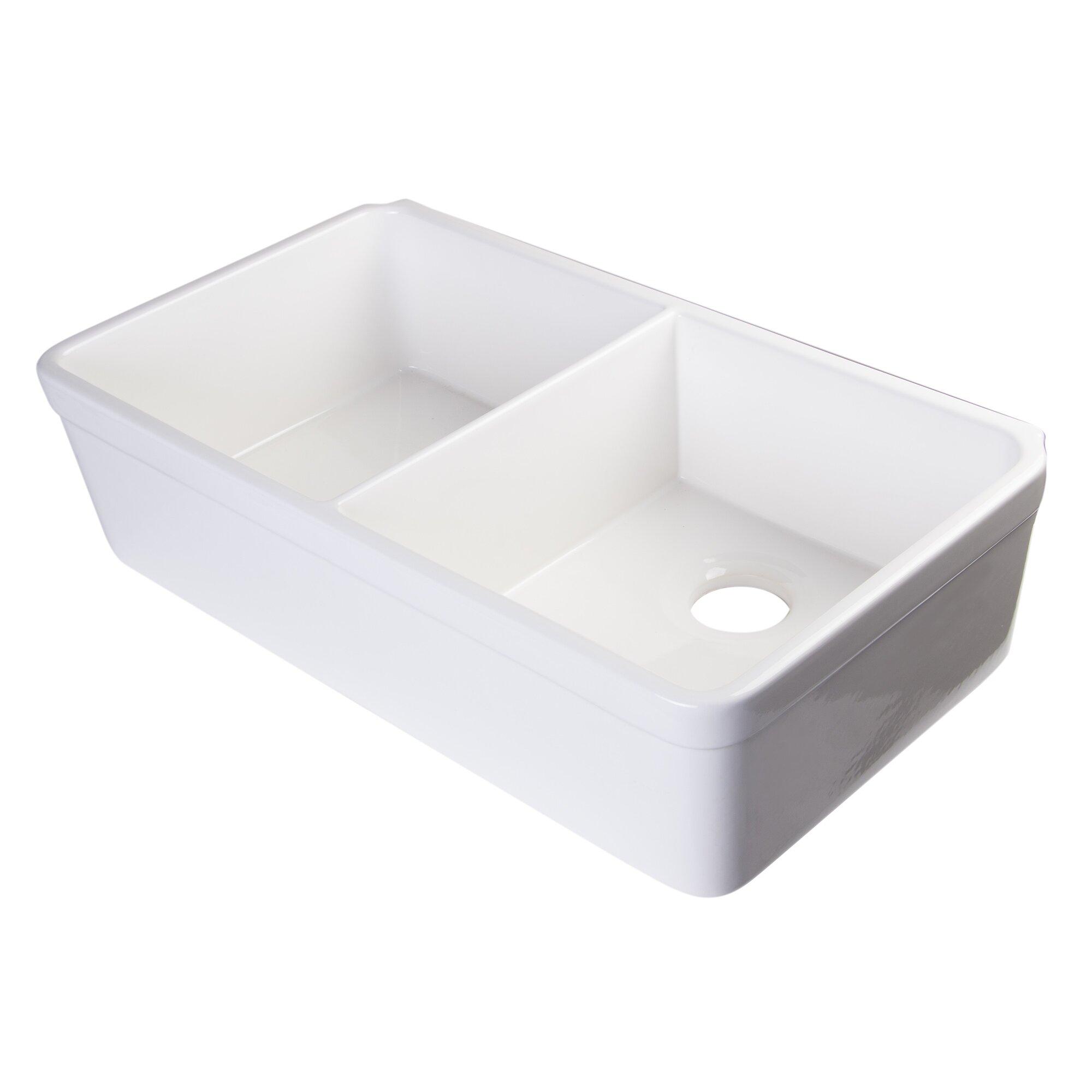 32 x 1775 double bowl farmhouse kitchen sink - Kitchen Sink Double