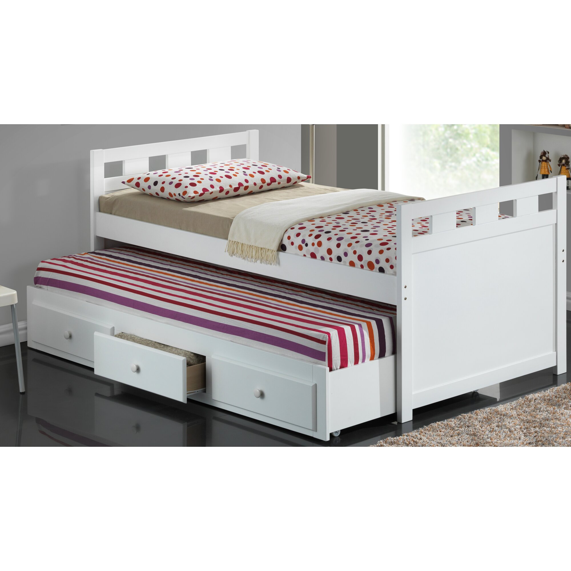 University loft graduate series twin xl open loft bed natural finish - Twin Captain Bed With Trundle And Storage
