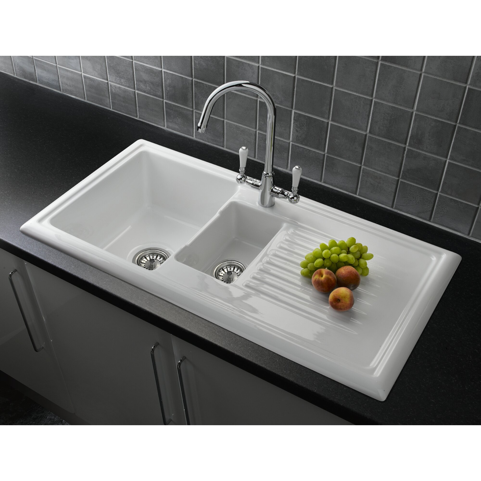 101cm x 52 5cm 1 1 2 inset kitchen sink with elbe tap and waste. Interior Design Ideas. Home Design Ideas