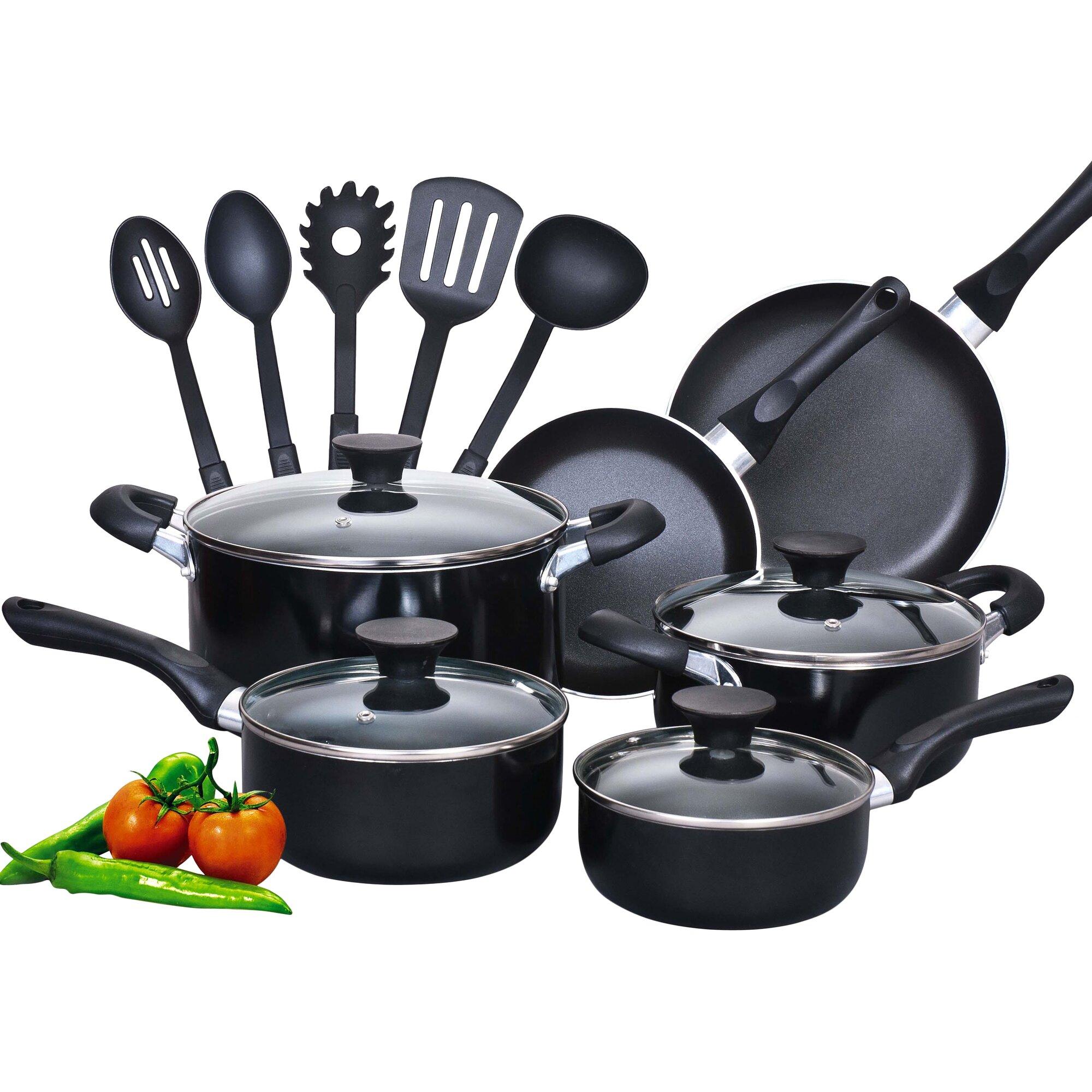 Cook N Home 15 Piece Soft Handle Nonstick Cookware Set & Reviews ...