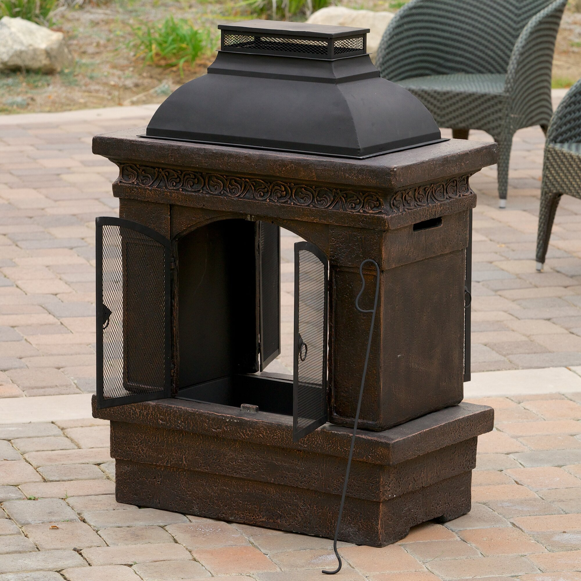 home loft concepts barbados cast iron wood burning outdoor o