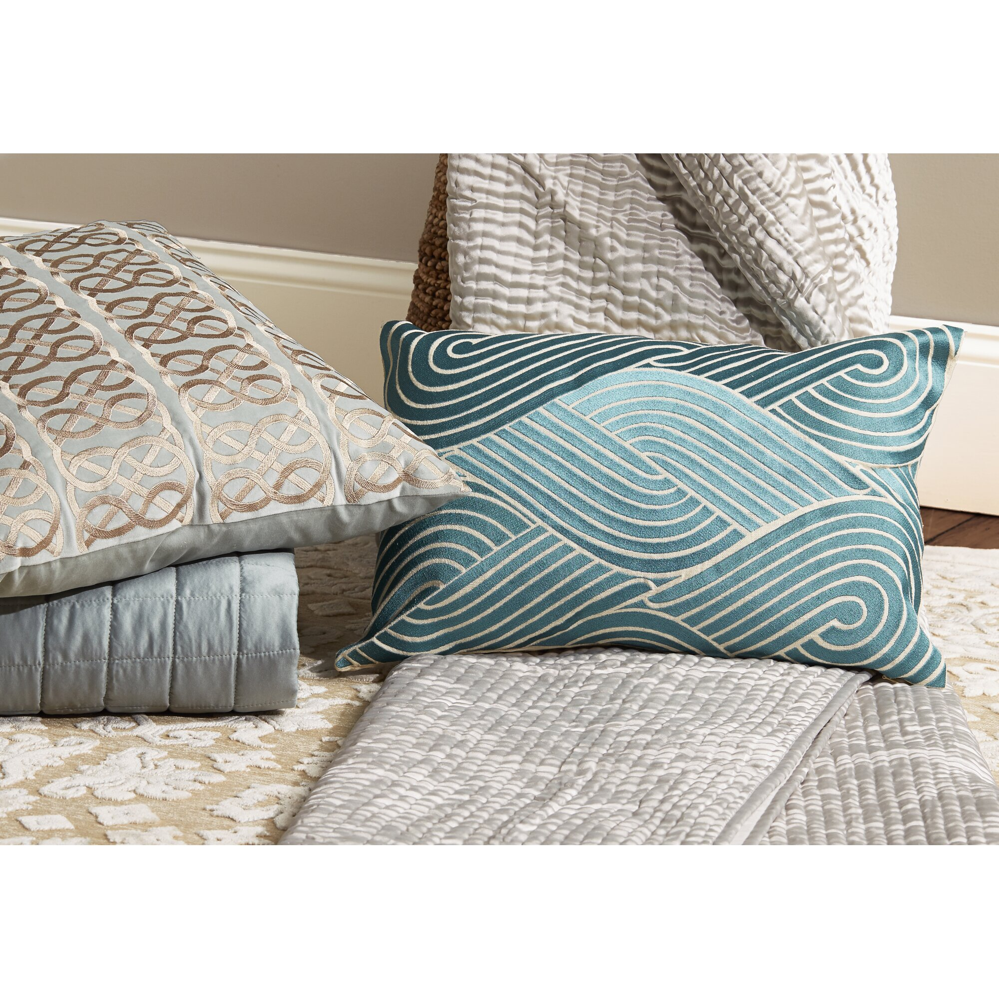 osaka waves embroidered decorative linen lumbar pillow - Decorative Lumbar Pillows