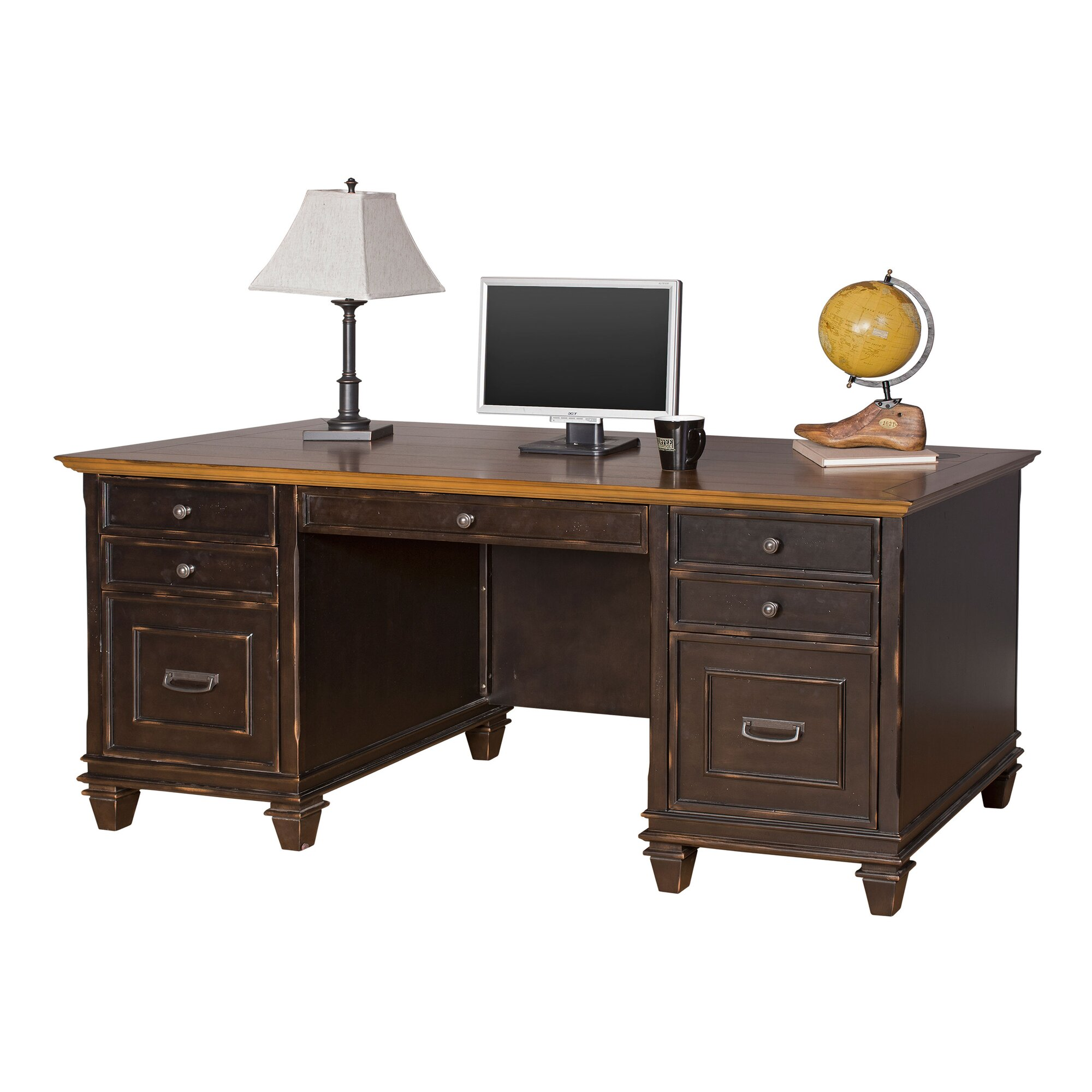 kathy ireland Home by Martin Furniture Hartford Executive Desk ...