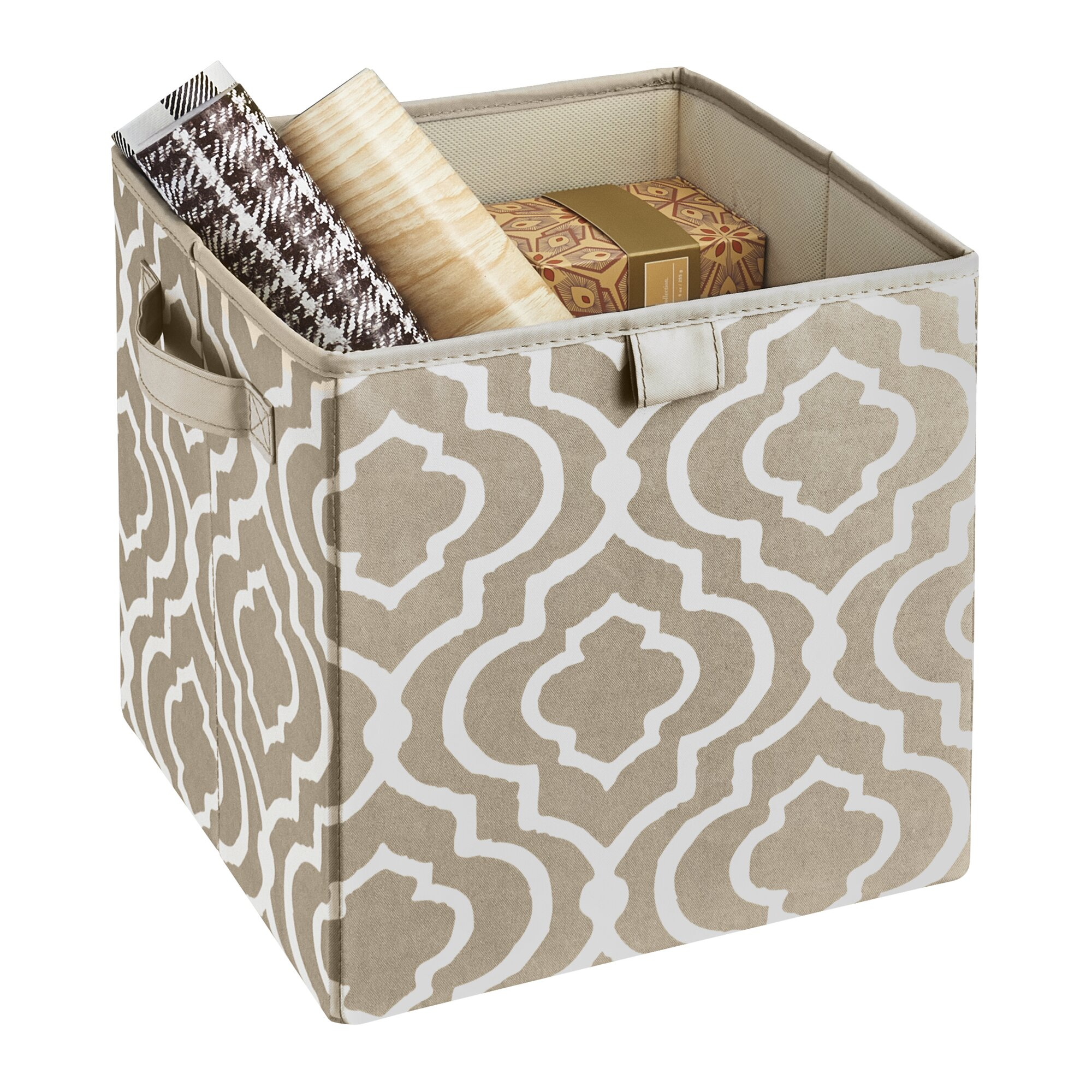 premium 2 handle storage bin in graystone - Decorative Storage Bins
