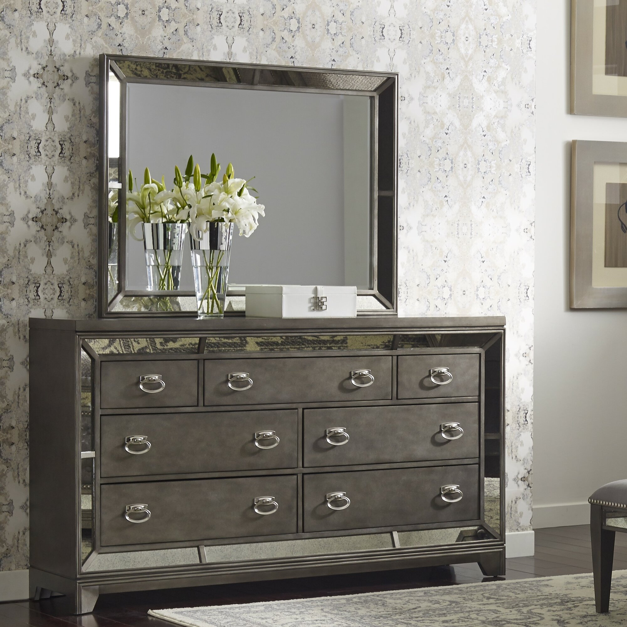 Willa Arlo Interiors Roxie 7 Drawer Dresser Mirror Reviews