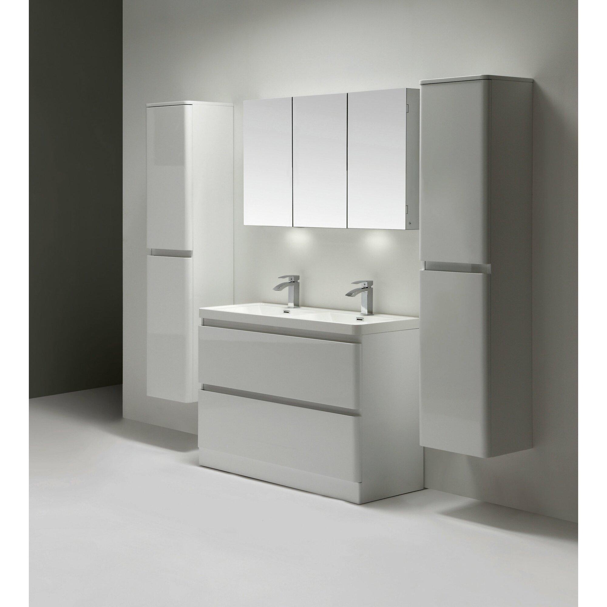 Double bathroom vanity - Glazzy 48 Double Bathroom Vanity Set