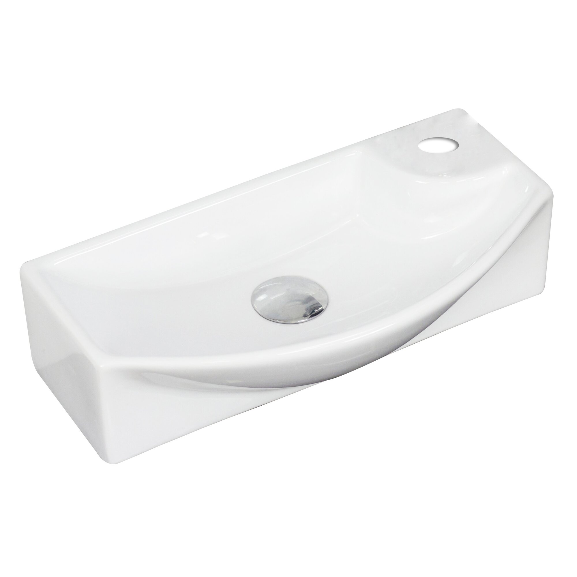 American imaginations above counter 19 wall mount bathroom sink for Above counter bathroom sinks glass