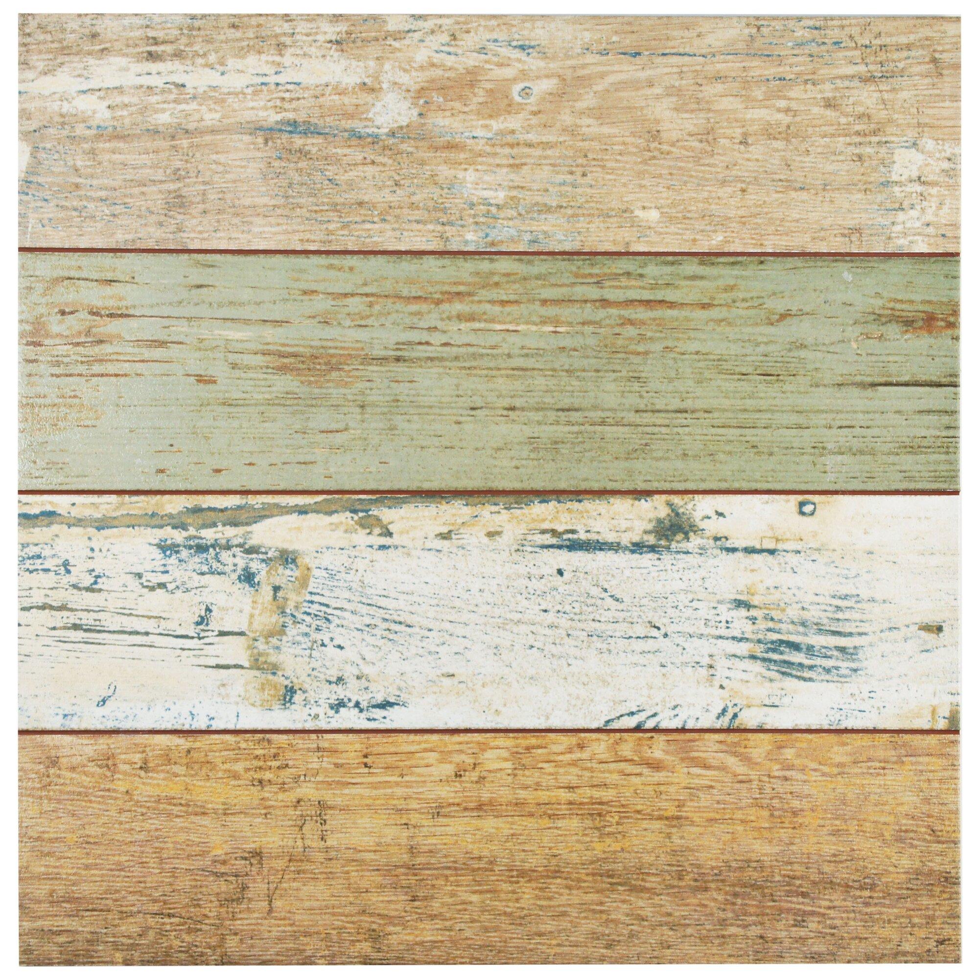 """Royalty 17.75"""" x 17.75"""" Ceramic Wood Look Tile in Brown ..."""