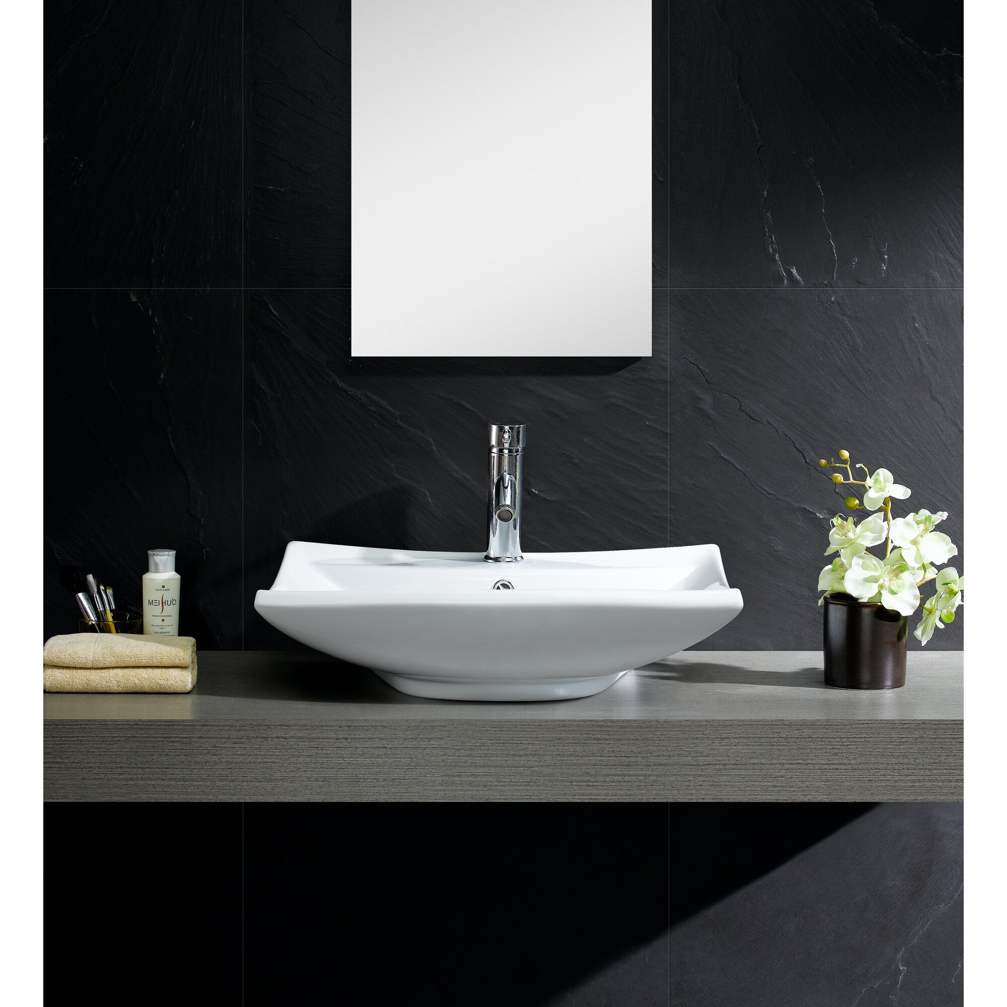 Bathroom square vessel sinks - Modern Vitreous Square Vessel Bathroom Sink With Overflow