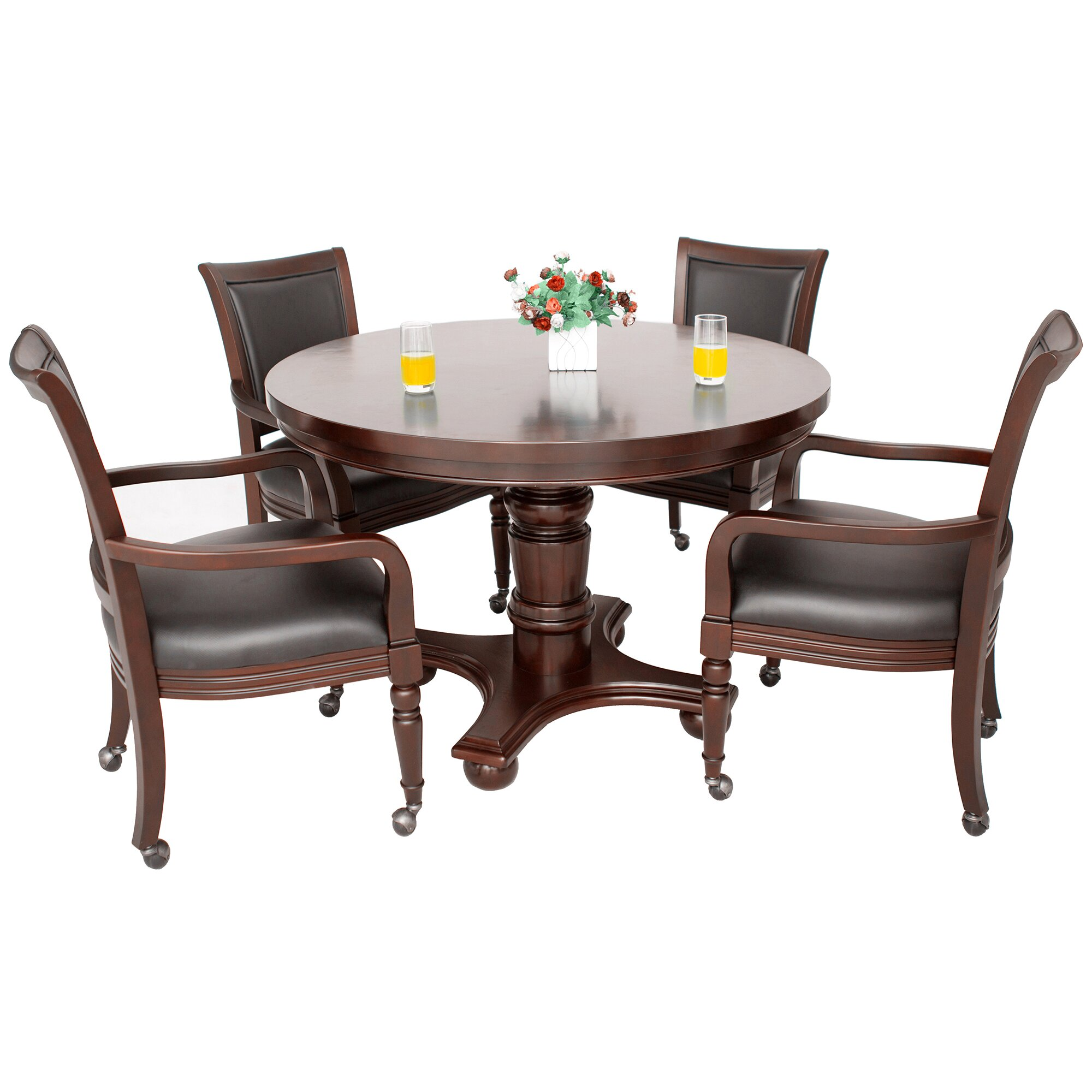 Mitchell 5 pcs set game table and 4 chairs coaster co - Bridgeport 2in1 Poker Game Table Set Coaster Turk 5 Piece