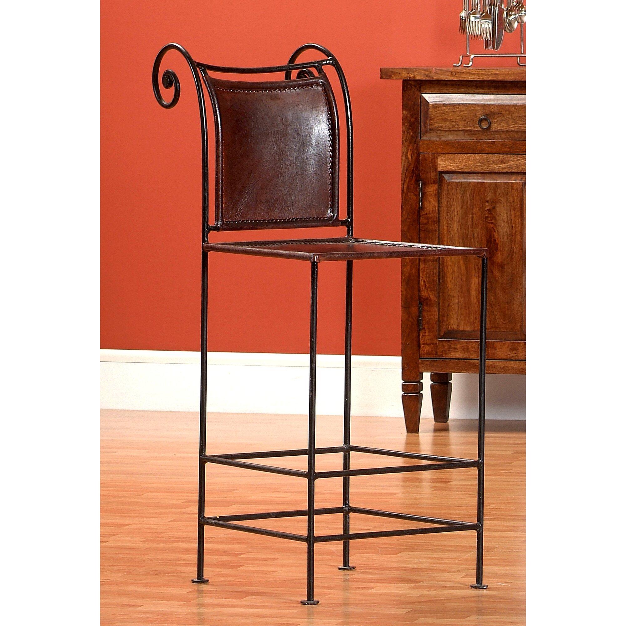 armen living lisbon 30 in leopard bar stool