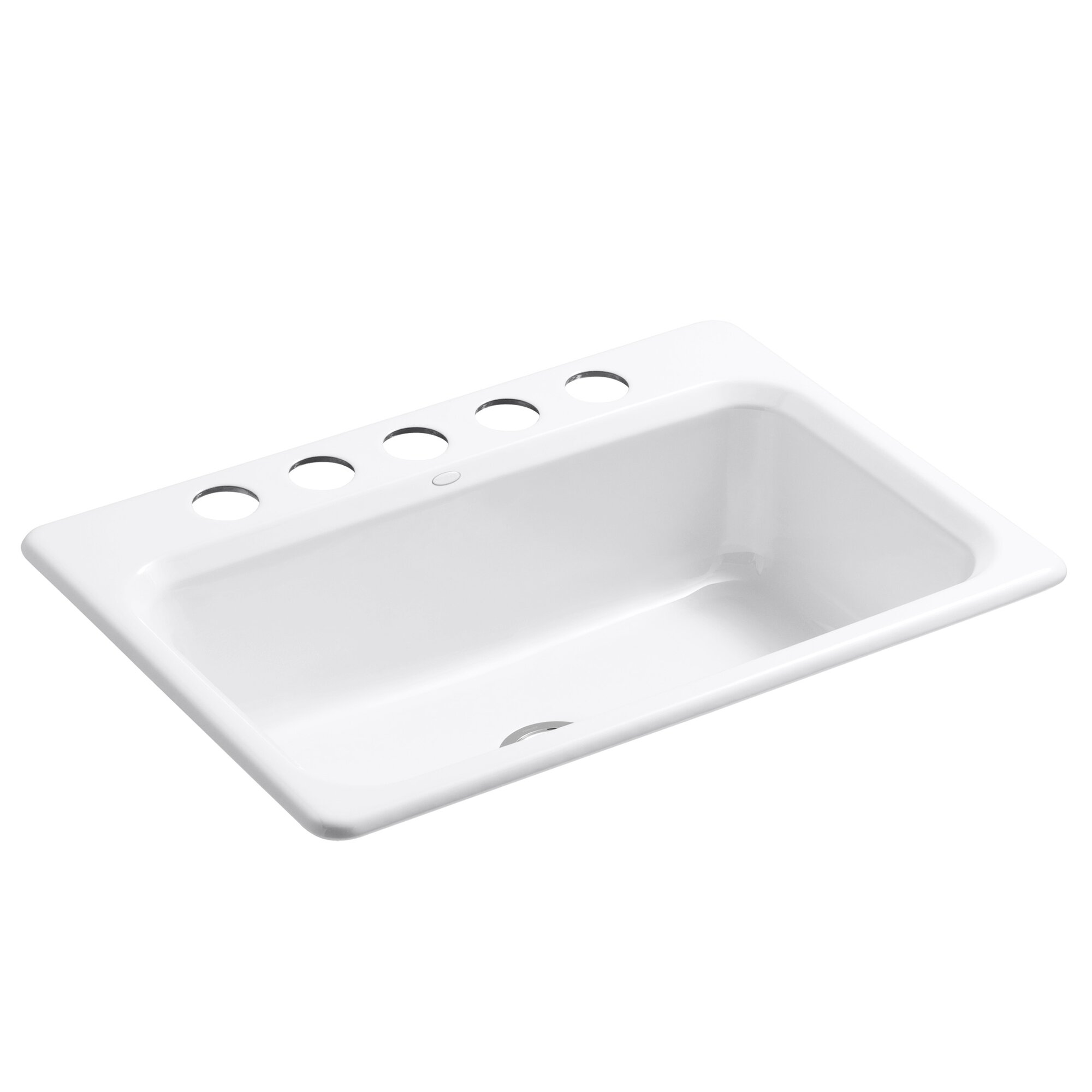 kohler bakersfield 31 x 22 x 8 58 under mount single bowl kitchen sink with 5 faucet holes reviews wayfair - White Single Basin Kitchen Sink