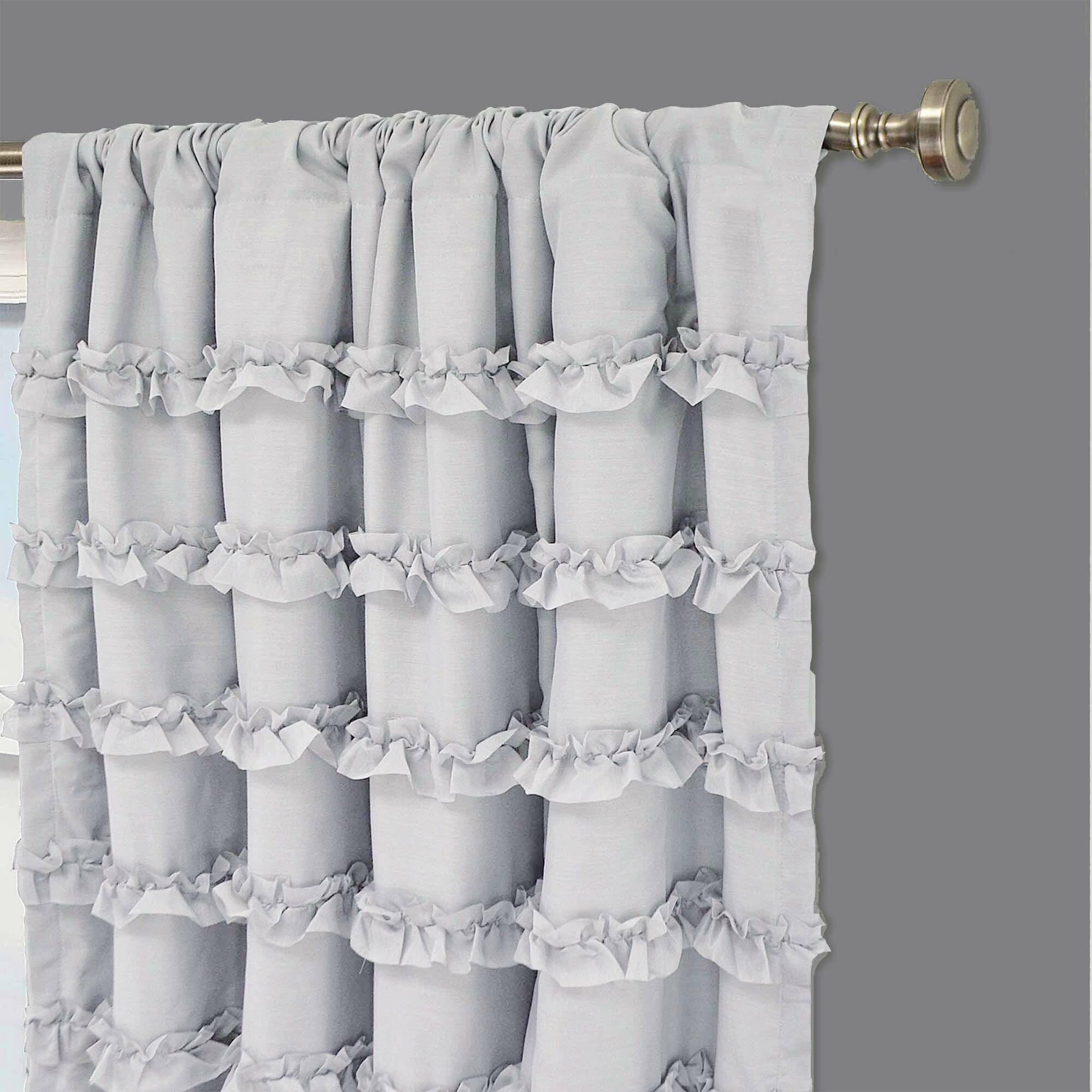 Black ruffle curtains - Rayna Ruffle Blackout Single Curtain Panel