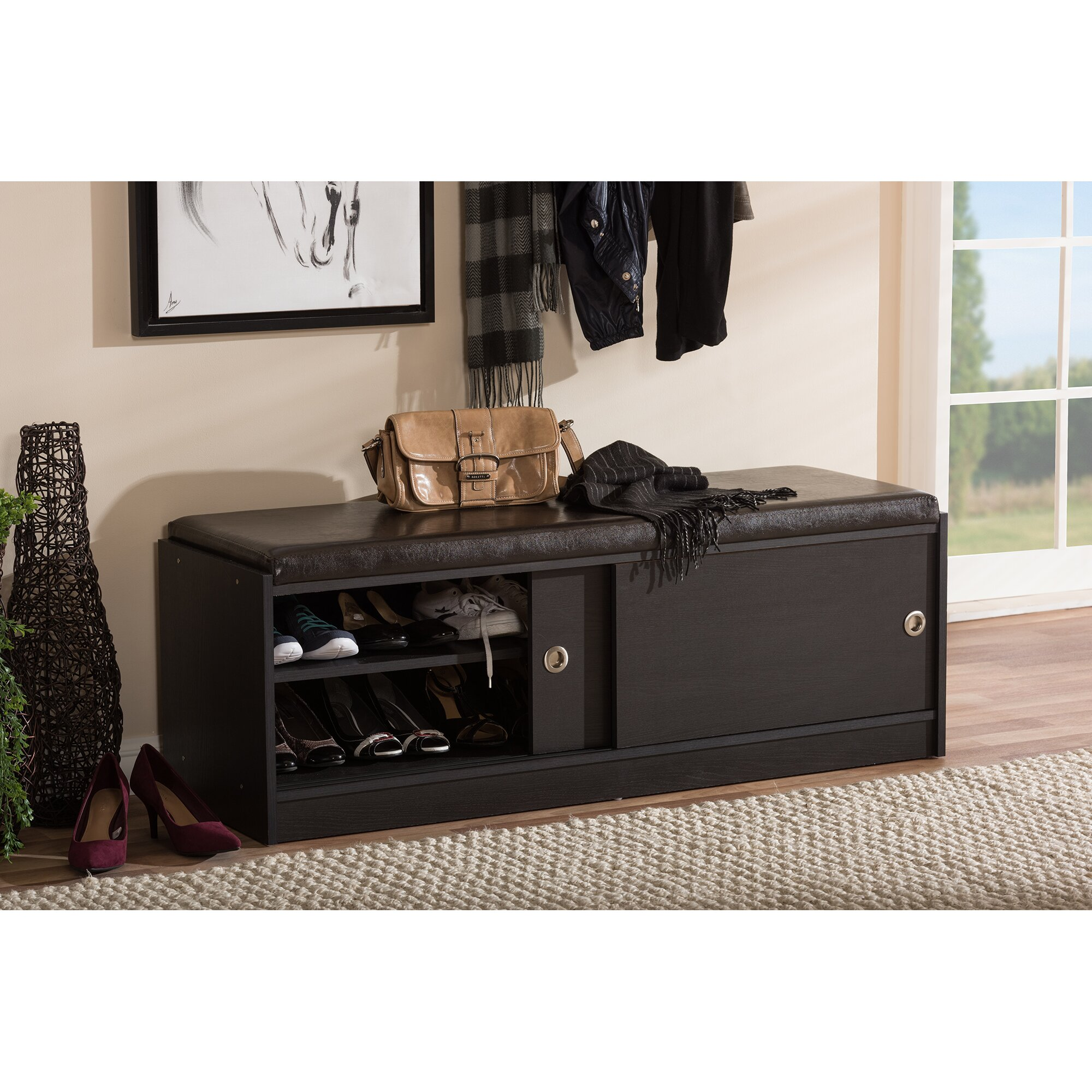 Wholesale Interiors Baxton Studio Clevedon Wood Storage Entryway Bench & Reviews | Wayfair