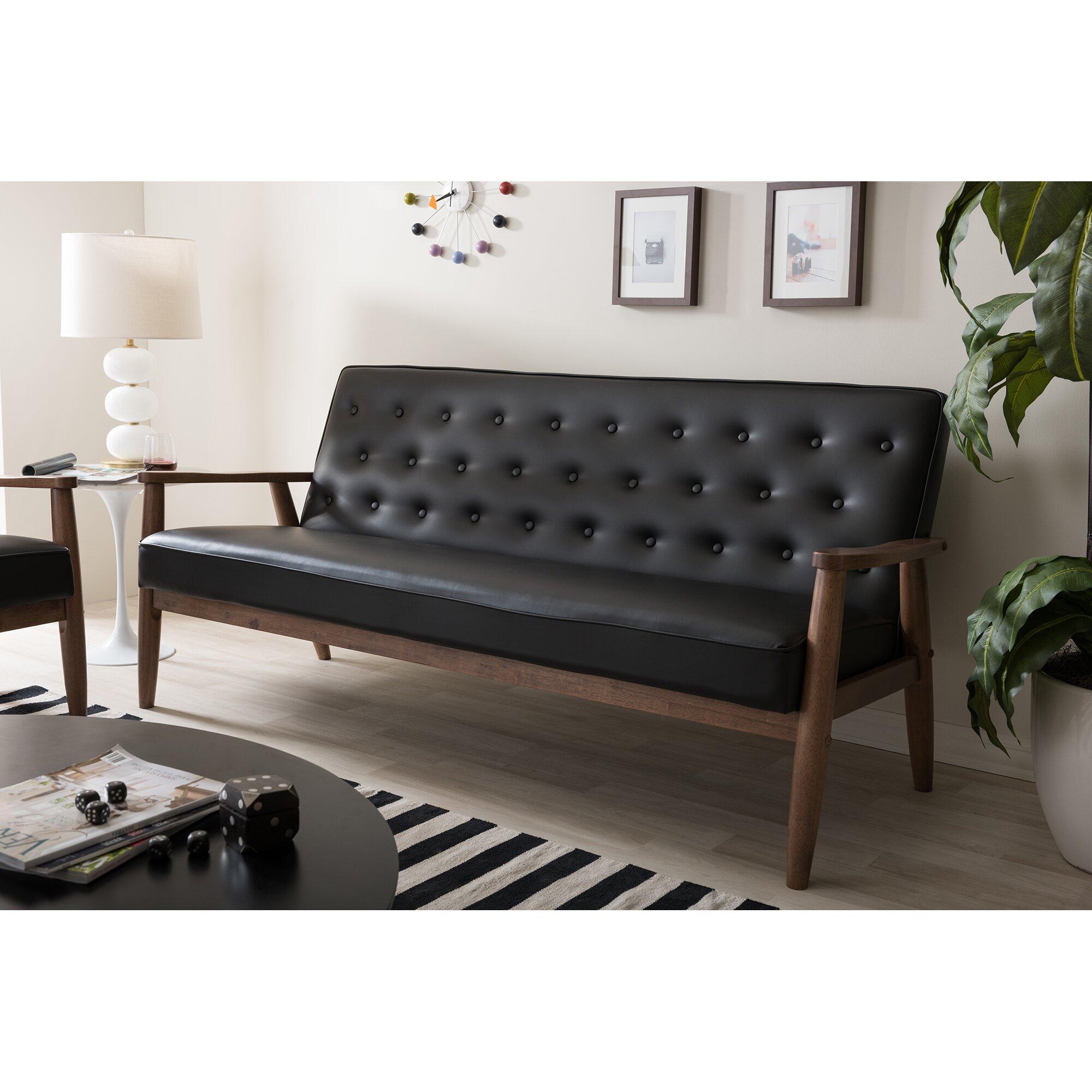 Baxton Studio Arcadia Fabric Upholstered Tufted 3seater Sofa Light