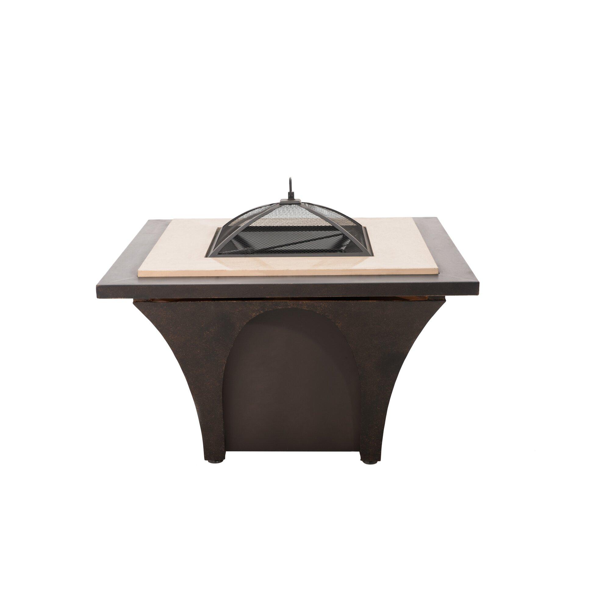 Sunjoy Revel Aluminum Wood Burning Fire Pit Table