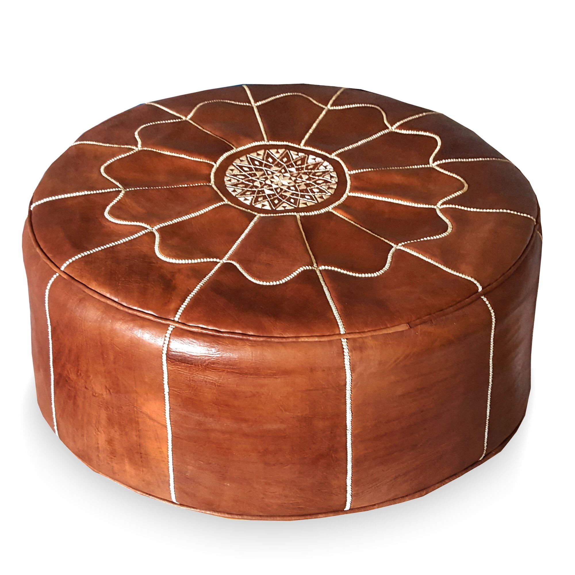Ikram Design Giant Moroccan Leather Pouf Ottoman Wayfair