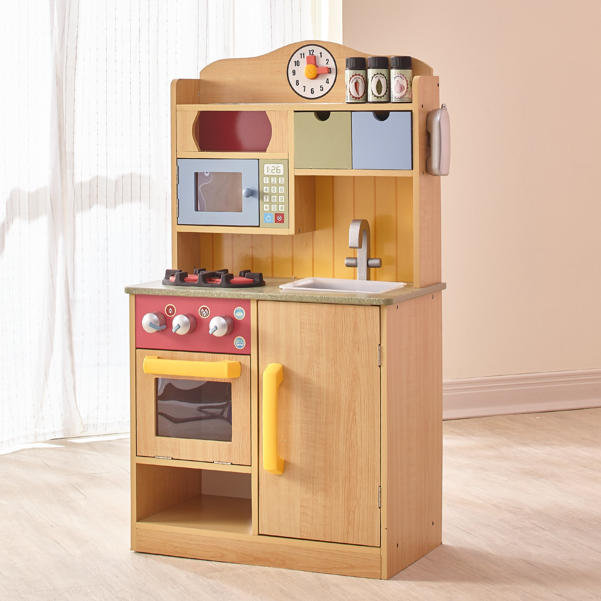 Little kitchen for toddlers - Little Chef Wooden Play Kitchen With Accessories
