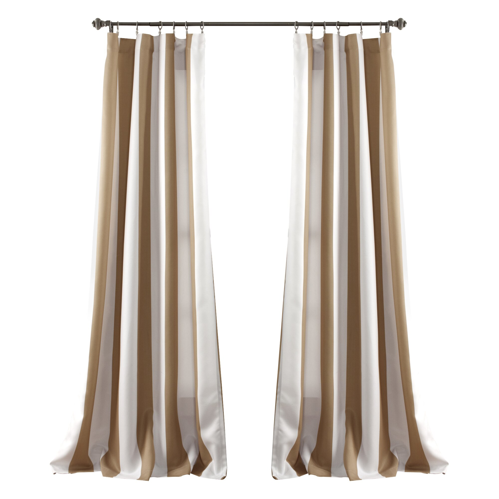 Beachcrest Home Striped Blackout Thermal Pinch Pleat Curtain Panels Reviews