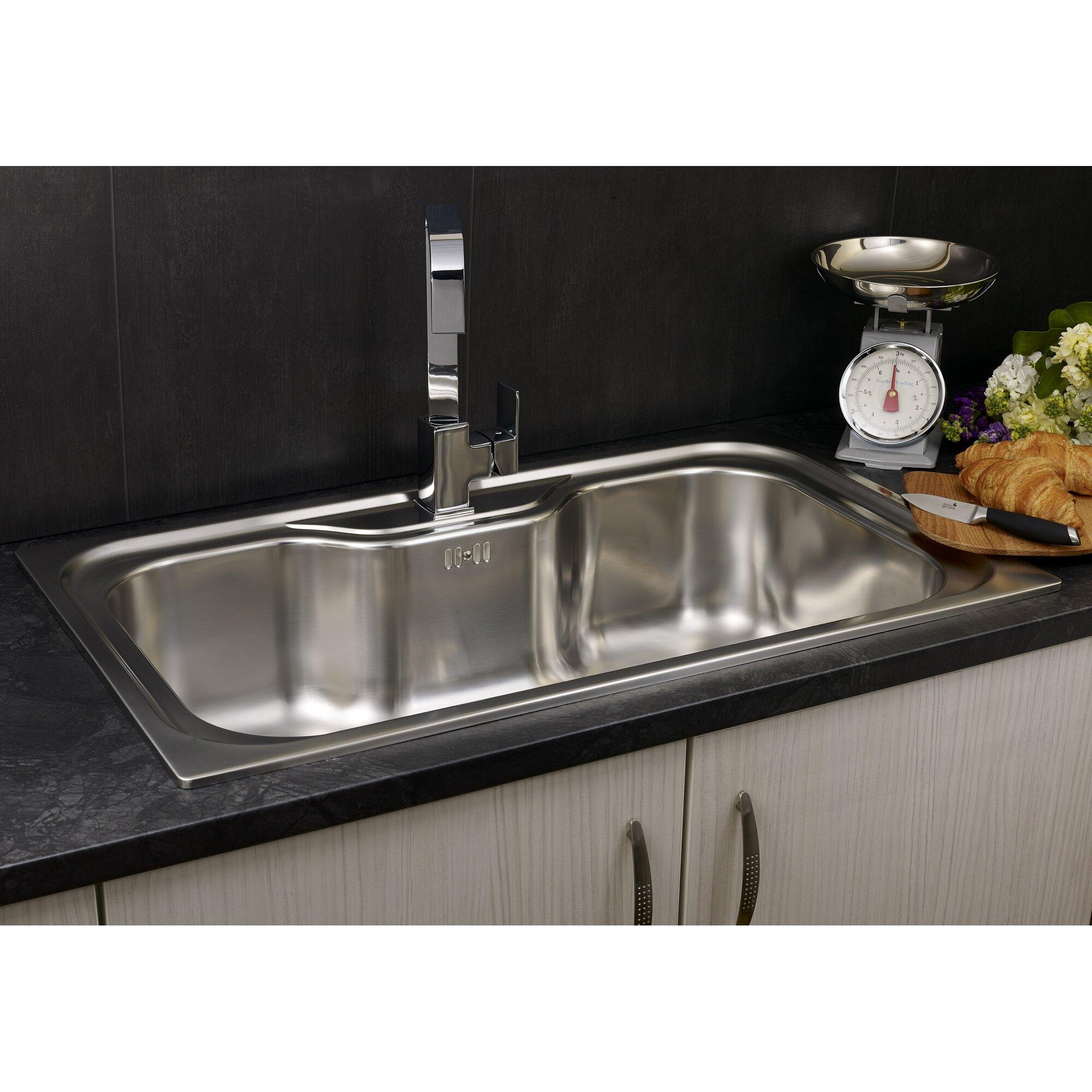 jumbo 86cm x 51cm single bowl inset kitchen sink - Kitchen Sink Uk