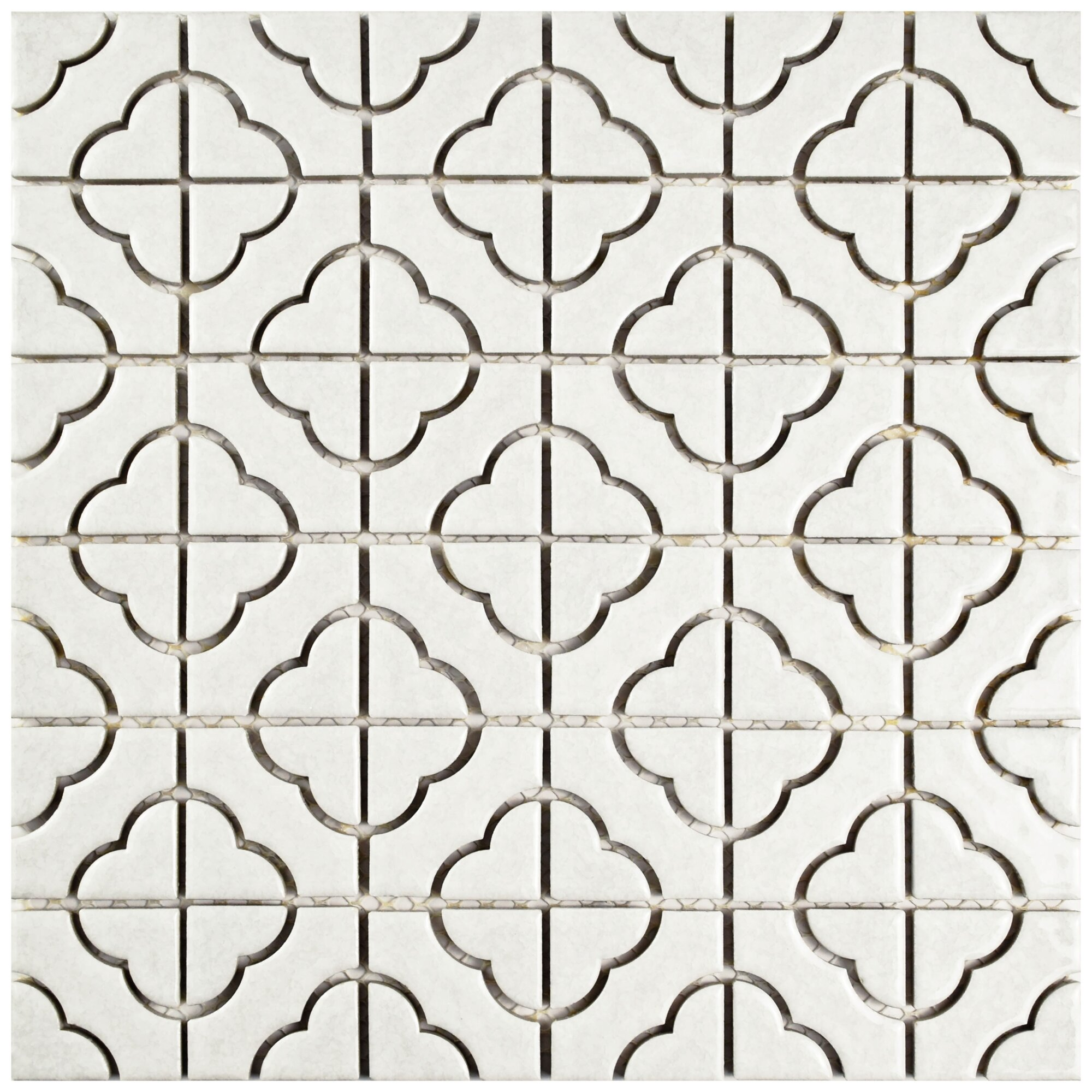 white mosaic tile. dry layout of black and white mosaic tiles with