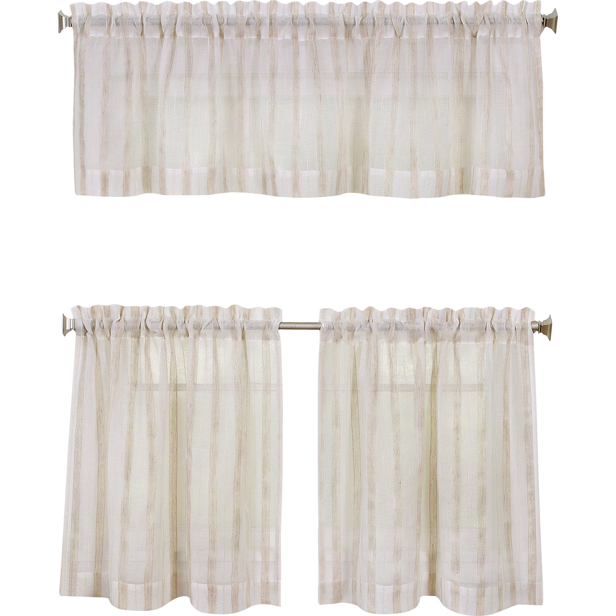 Linen Stripe Kitchen Curtains