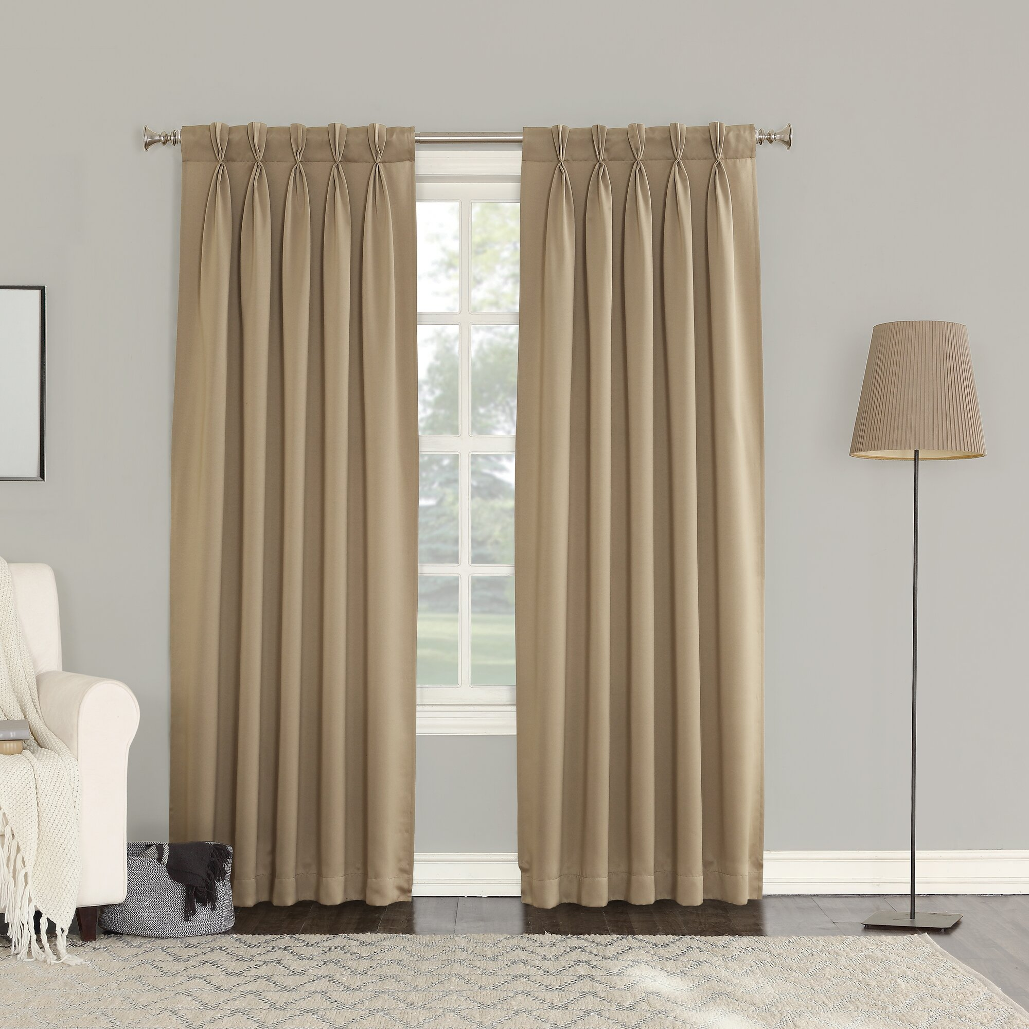 Sun Zero Groton Solid Semi Sheer Pinch Pleat Curtain Panels Reviews
