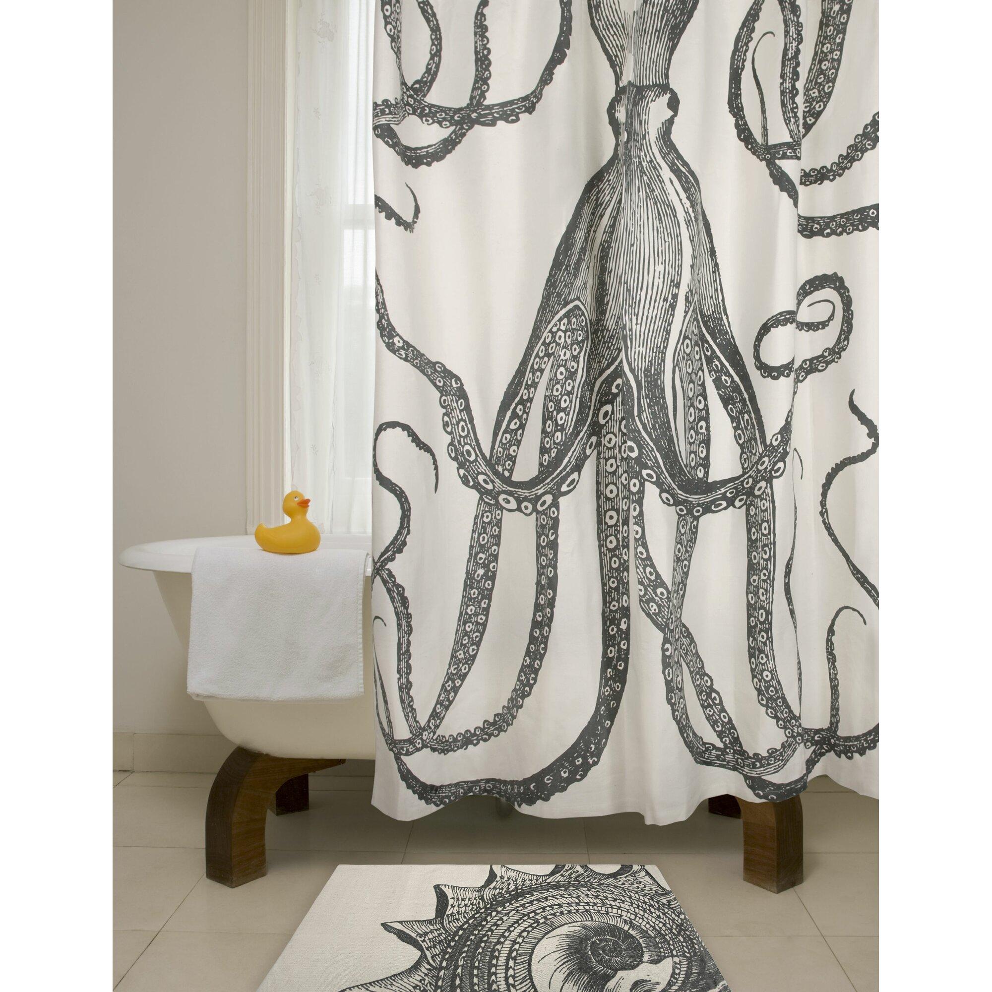 Bath Cotton Octopus Shower Curtain Reviews Allmodern