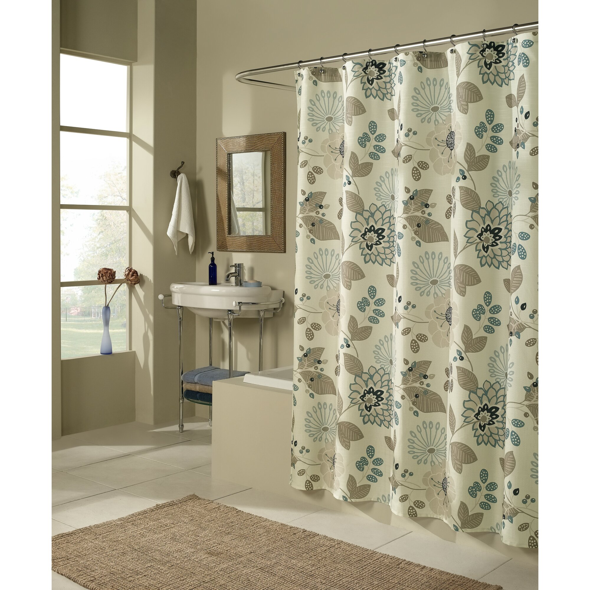 Mstyle Morgan Shower Curtain  Reviews Wayfair - Brown and turquoise shower curtain