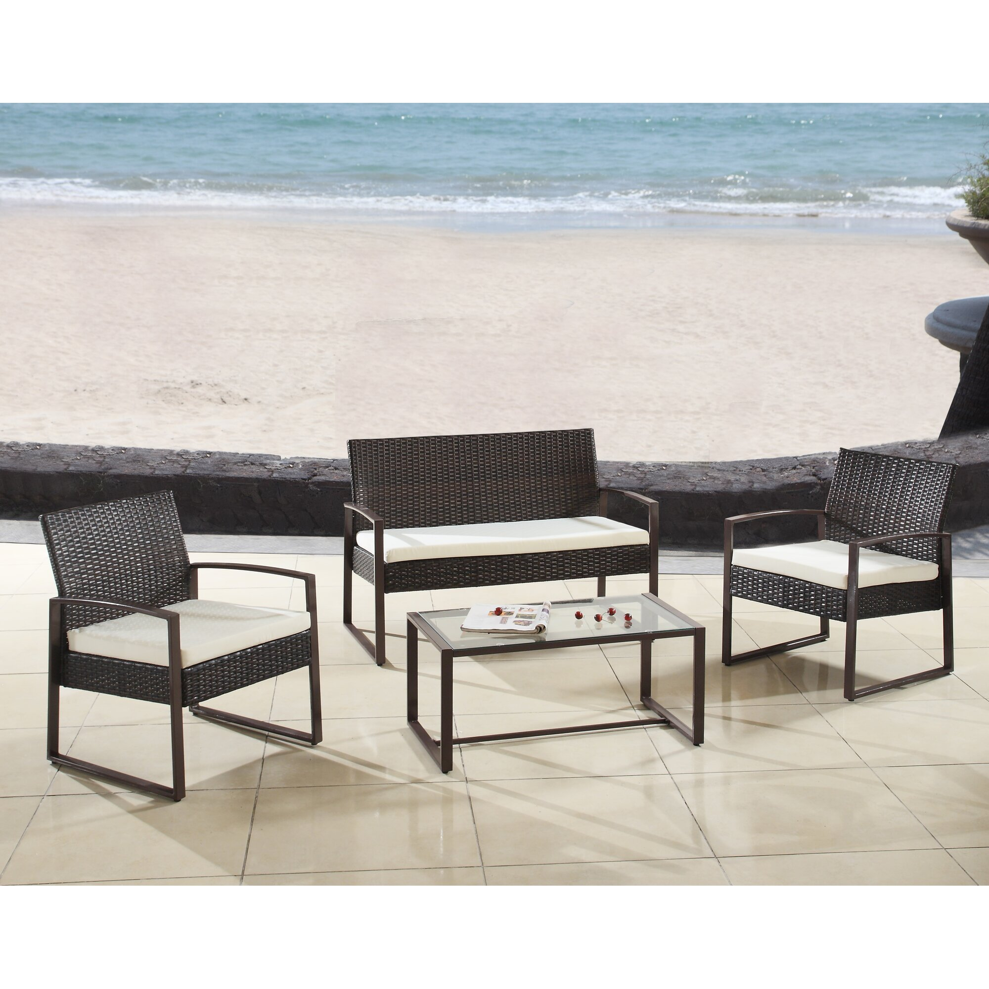 Superior Madison Home Usa Modern Outdoor Patio 4 Piece Seating Group With .