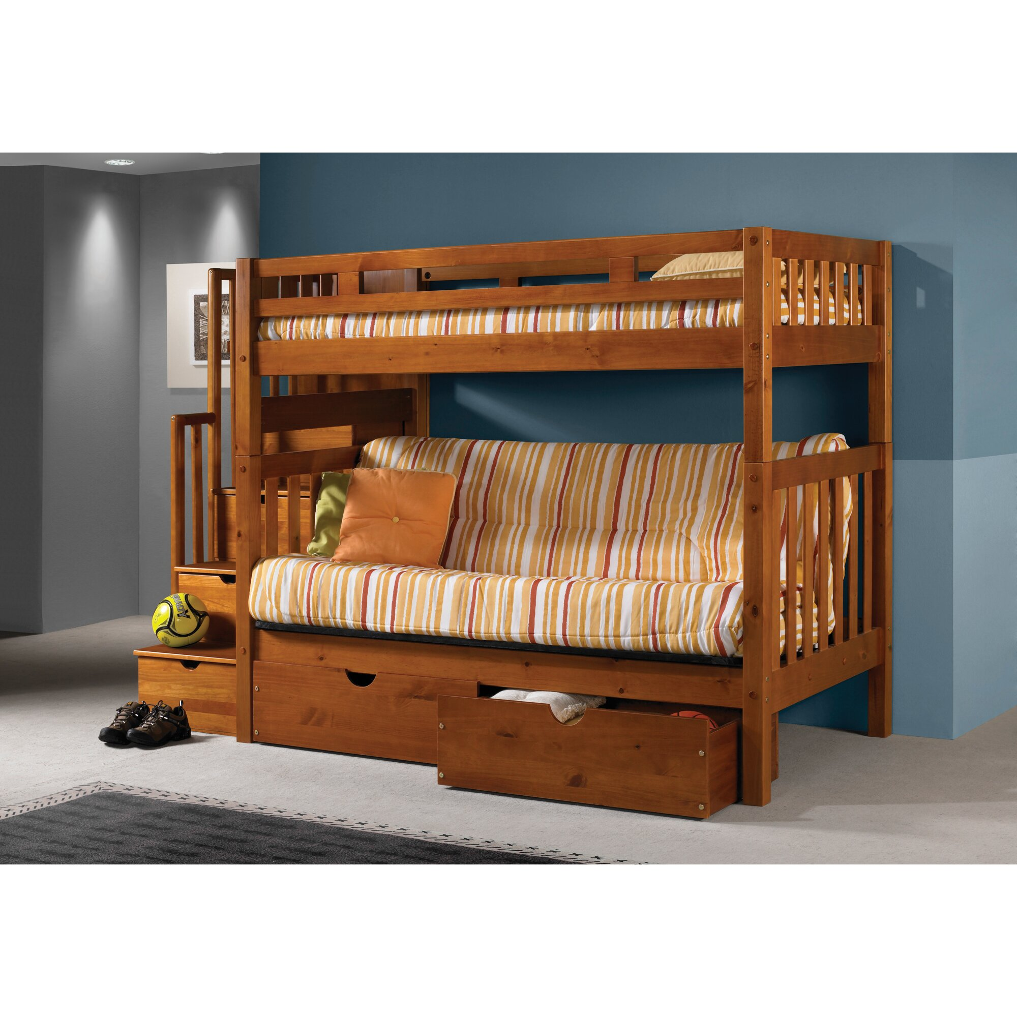 Bed frames with storage drawers - Stairway Loft Bunk Bed With Storage Drawers