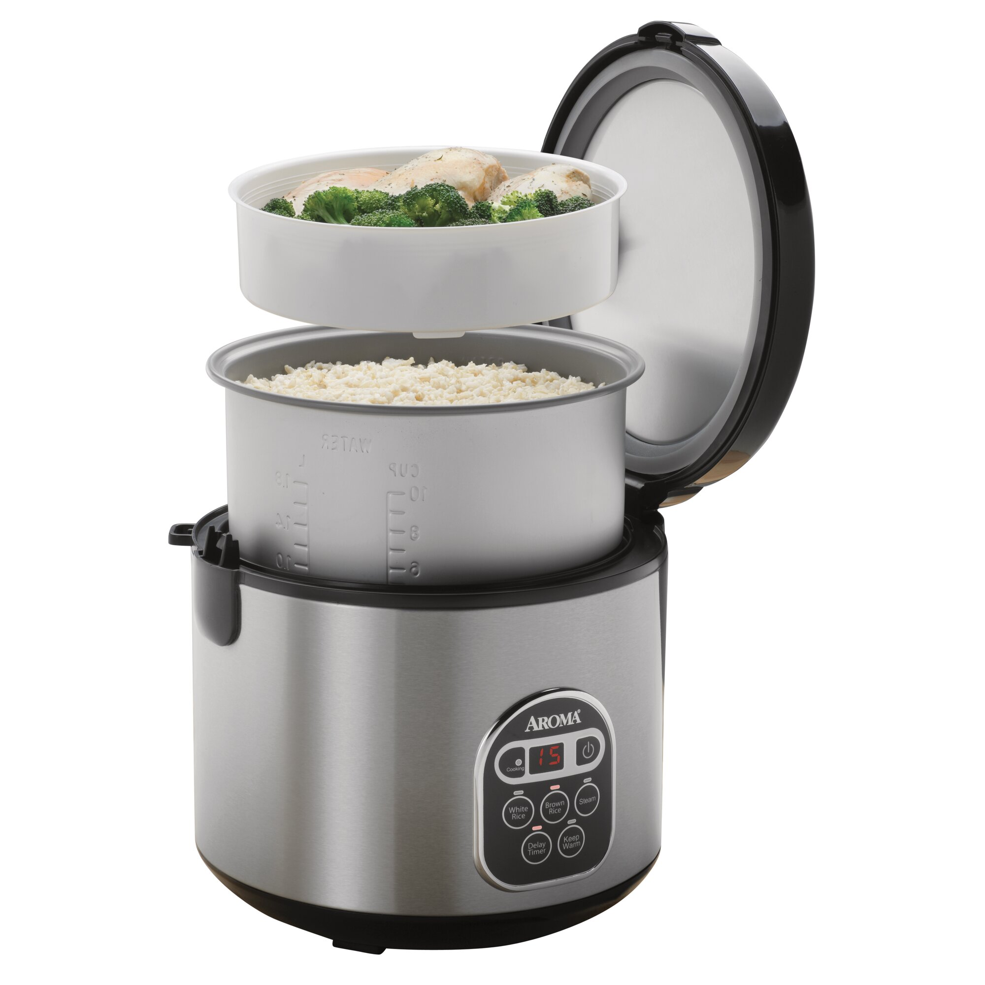 20cup Stainless Steel Digital Slow Cooker, Food Steamer And Rice Cooker