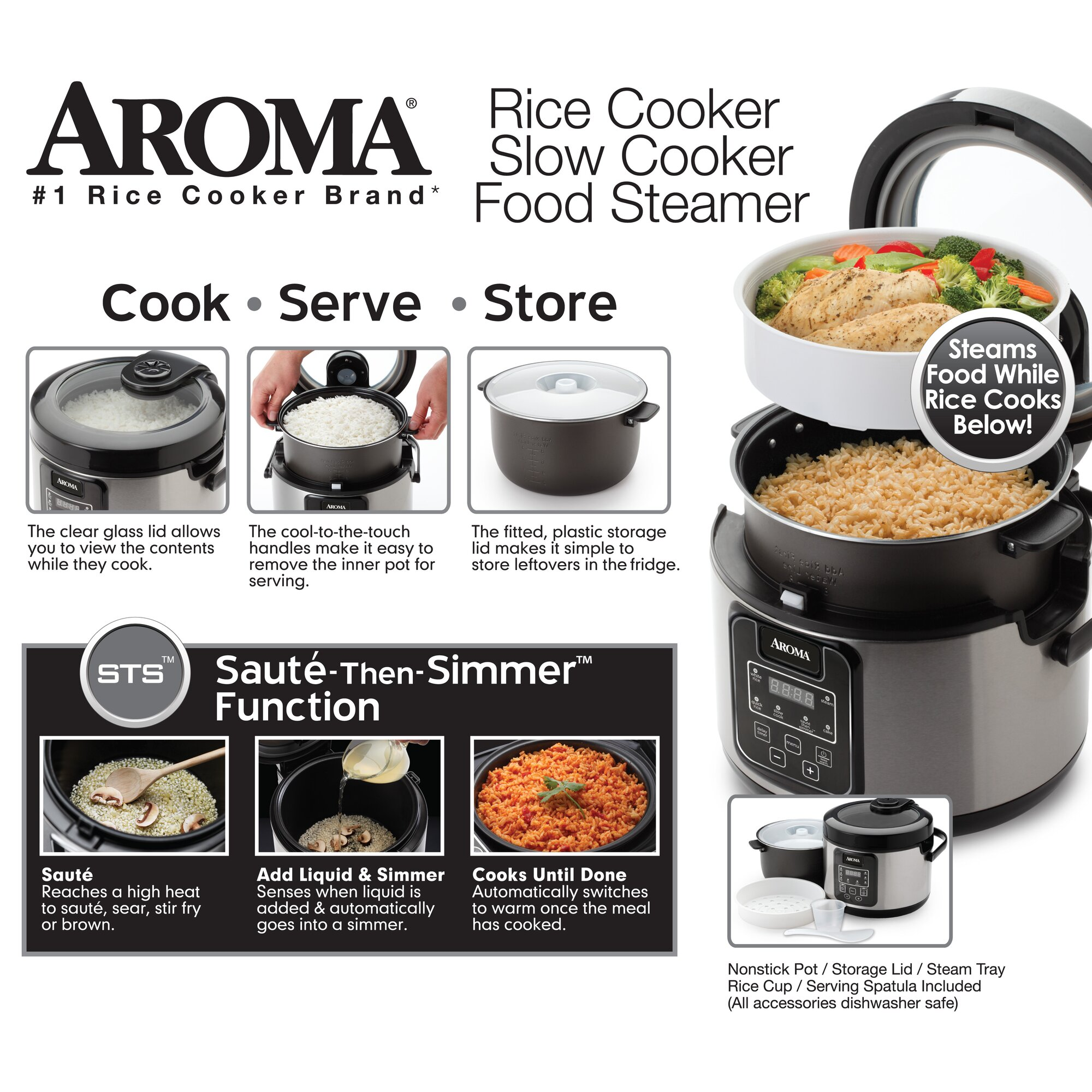 16cup Slow Cooker, Food Steamer And Rice Cooker