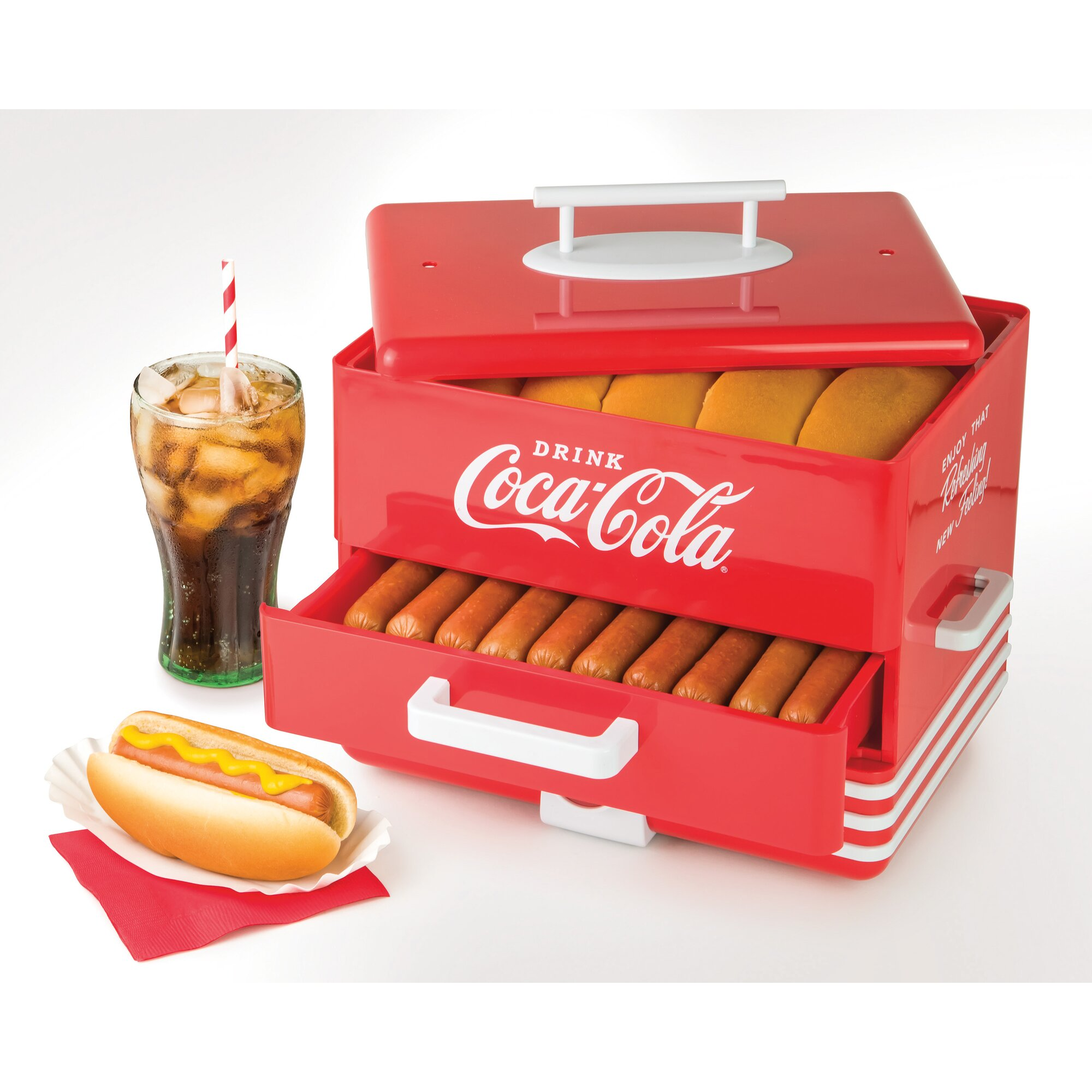 Uncategorized Hot Dog Cookers Specialty Kitchen Appliances nostalgia electrics coca cola series hot dog steamer reviews steamer