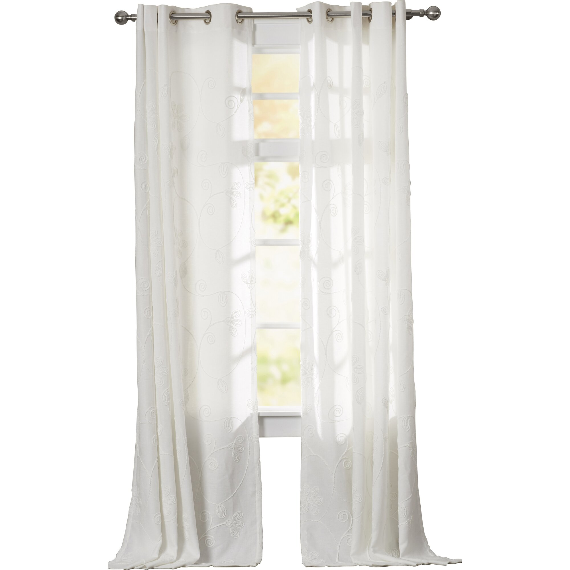 Threshold linen grommet sheer curtain panel product details page - Necaise Nature Floral Semi Sheer Grommet Single Curtain Panel