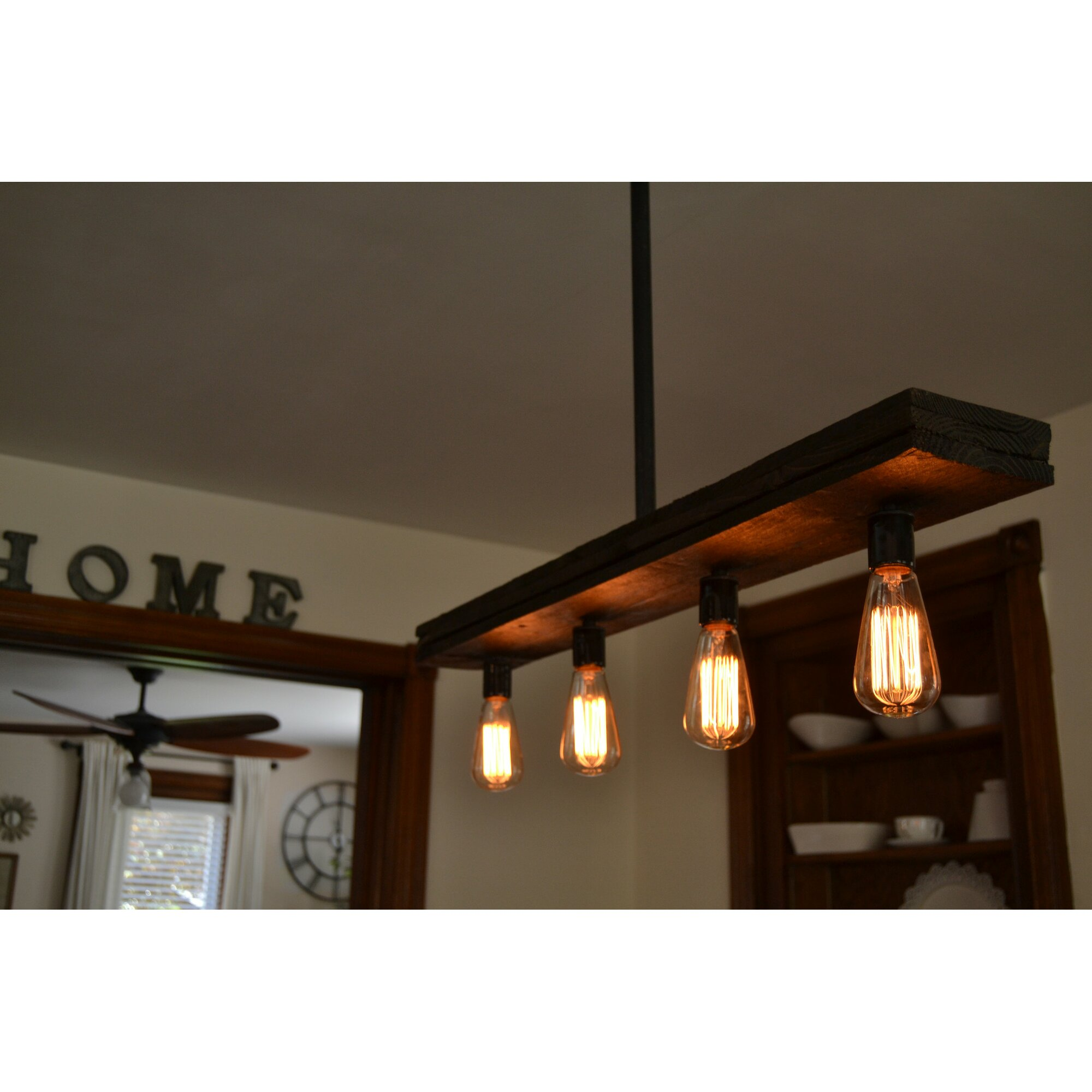 Triple Wood  Light Kitchen Island Pendant