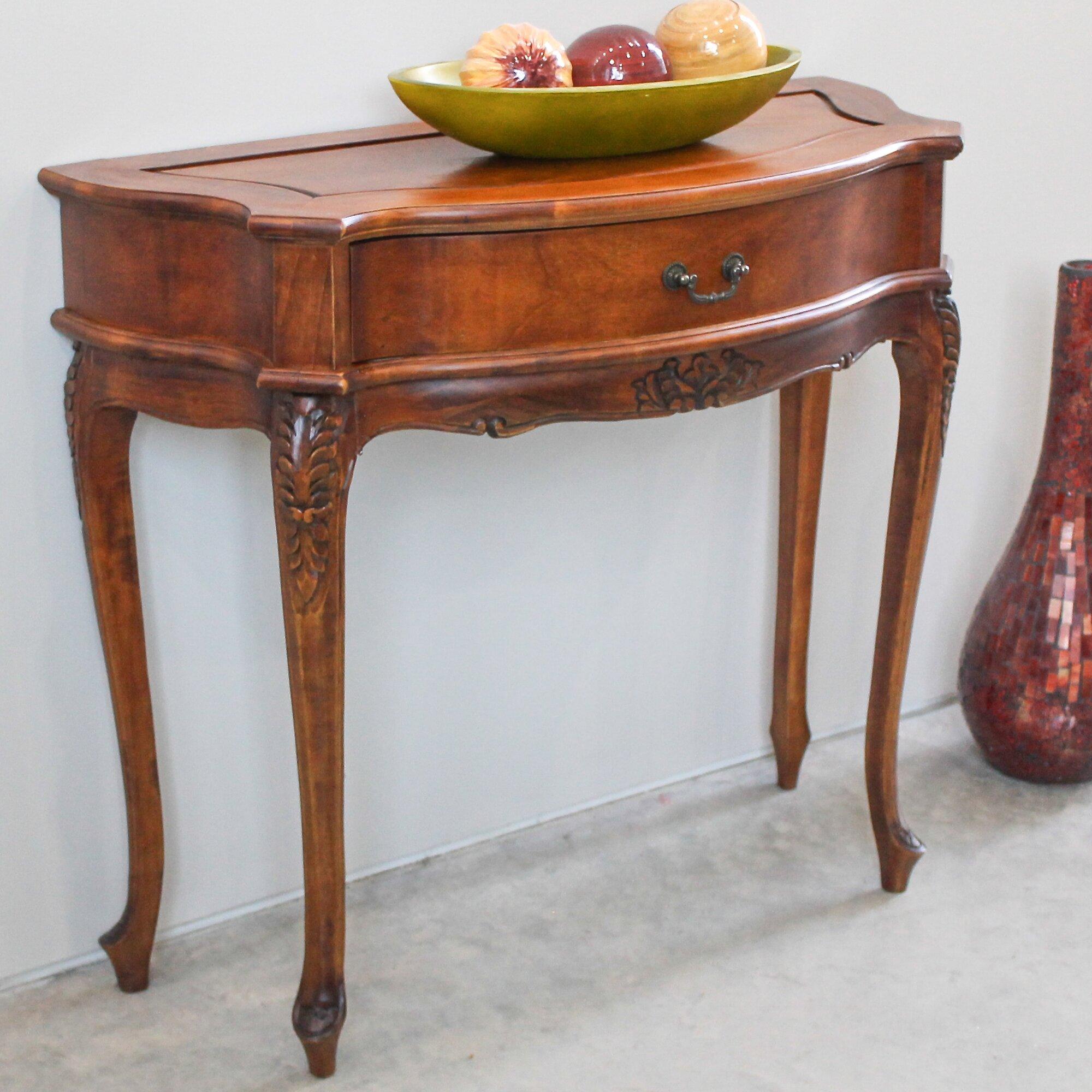 International caravan windsor hand carved one drawer hall for Table decor international inc