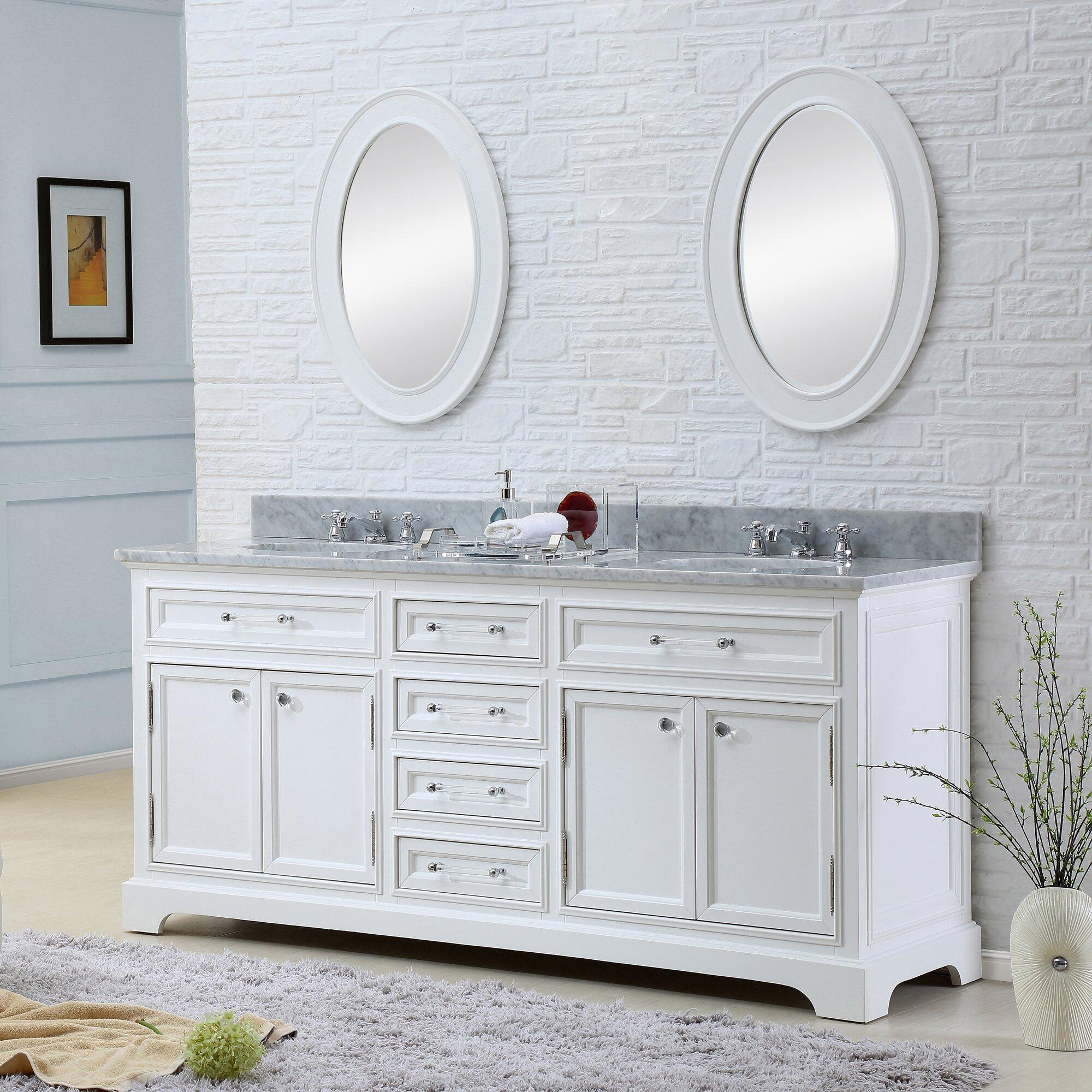 72 white bathroom vanity - Colchester 72 Double Sink Bathroom Vanity Set With Mirror White