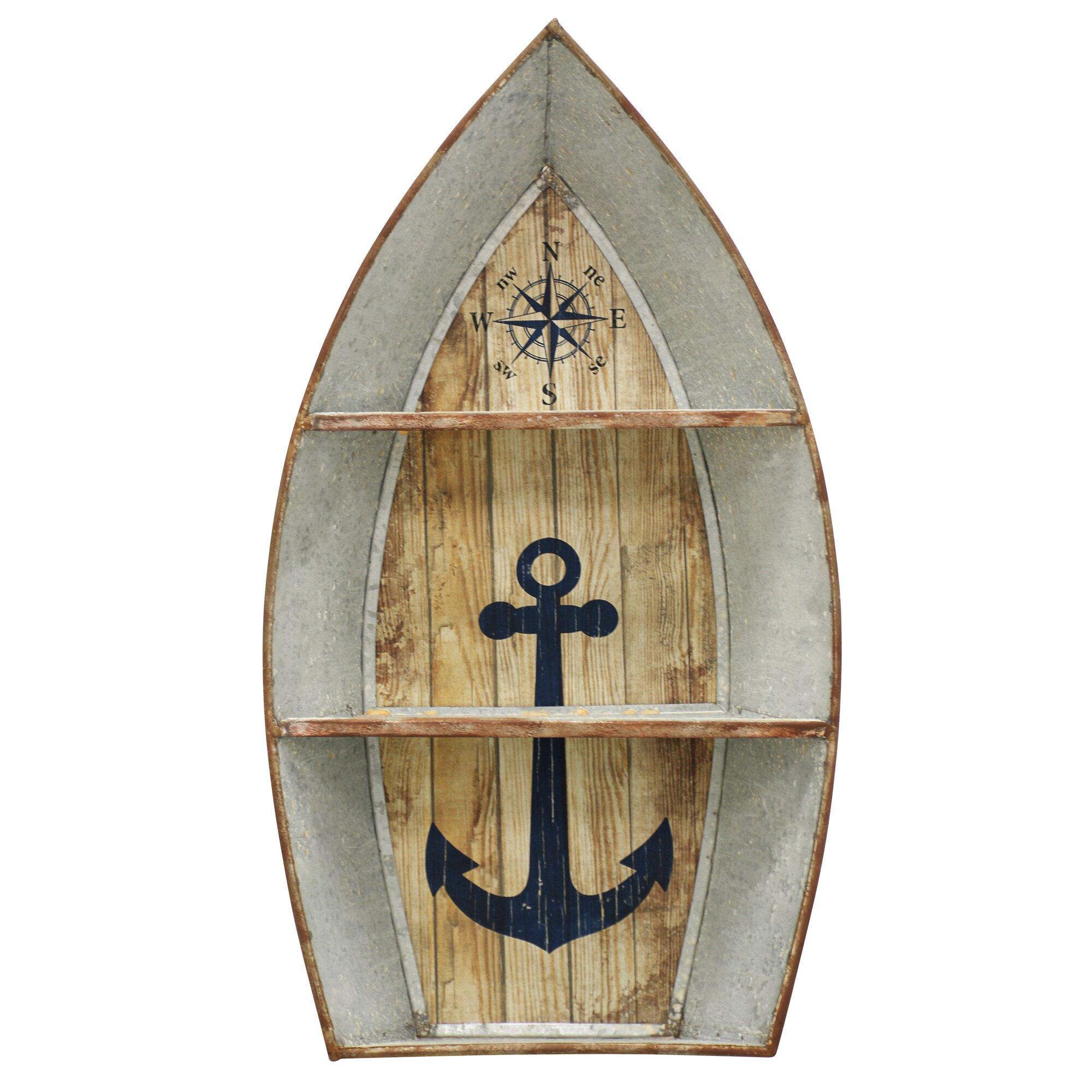 nautical metal boat shelves wall decor reviews birch lane. Black Bedroom Furniture Sets. Home Design Ideas