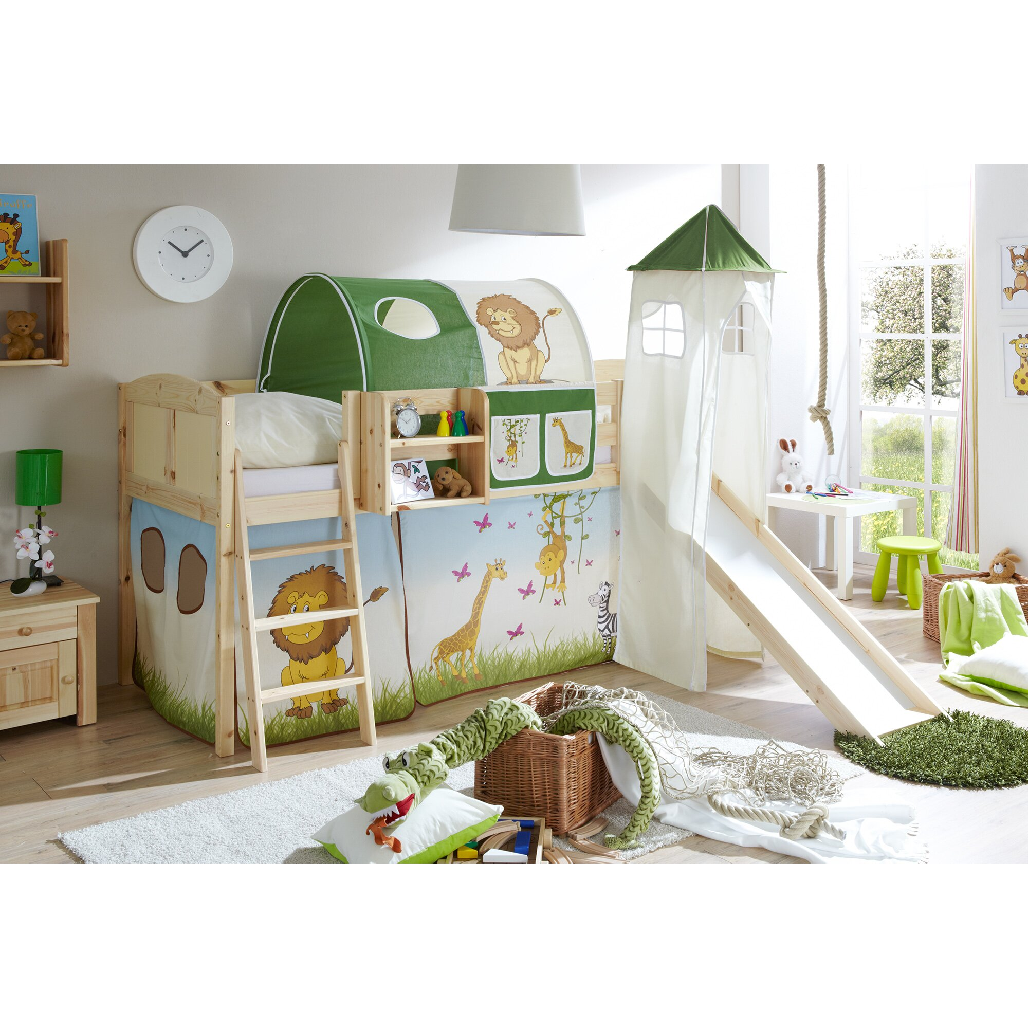ticaa halbhochbett ellesmere mit rutsche 90 x 200 cm. Black Bedroom Furniture Sets. Home Design Ideas