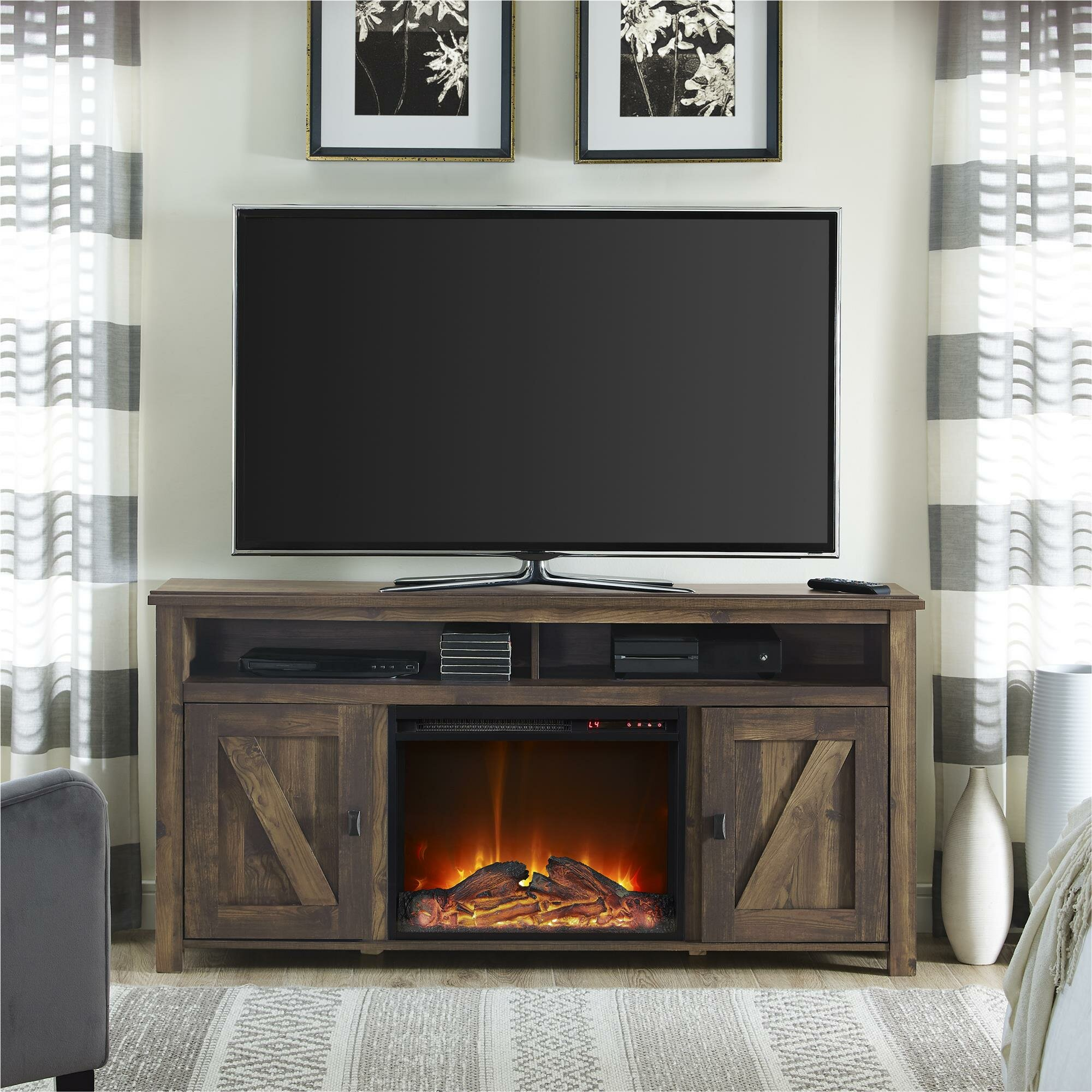 Elise Media Console With Electric Fireplace Amp Reviews