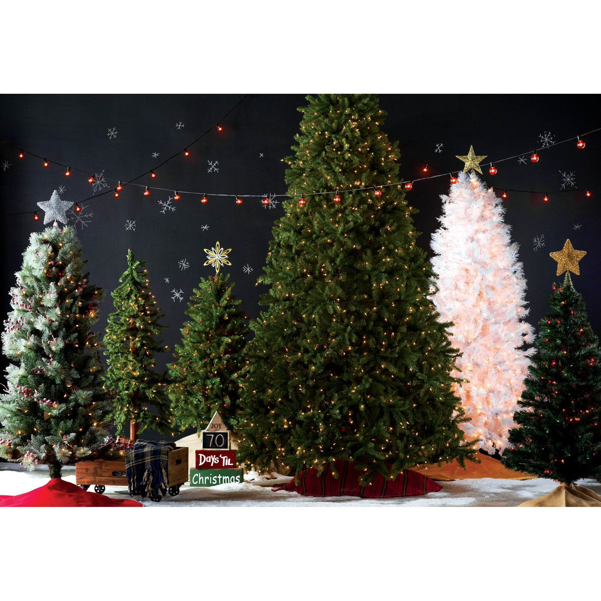 Slim white christmas tree with lights - 7 5 White Grande Slim Artificial Christmas Tree With 500 Pre Lit Clear Lights With