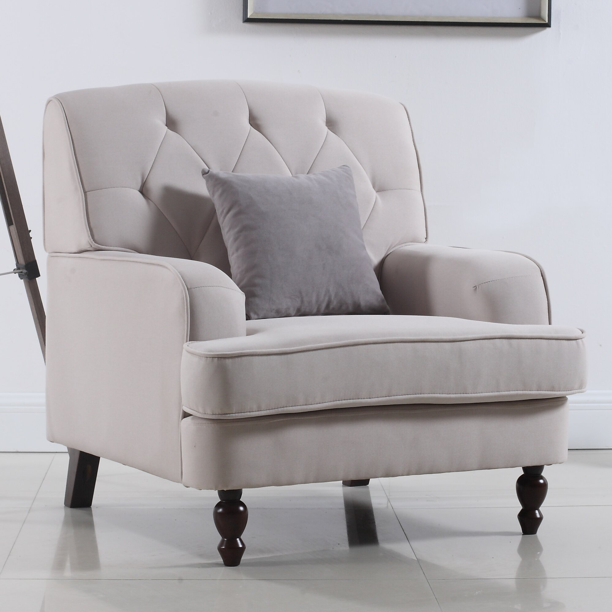 Madison Home USA Modern Tufted Fabric Living Room Arm Chair
