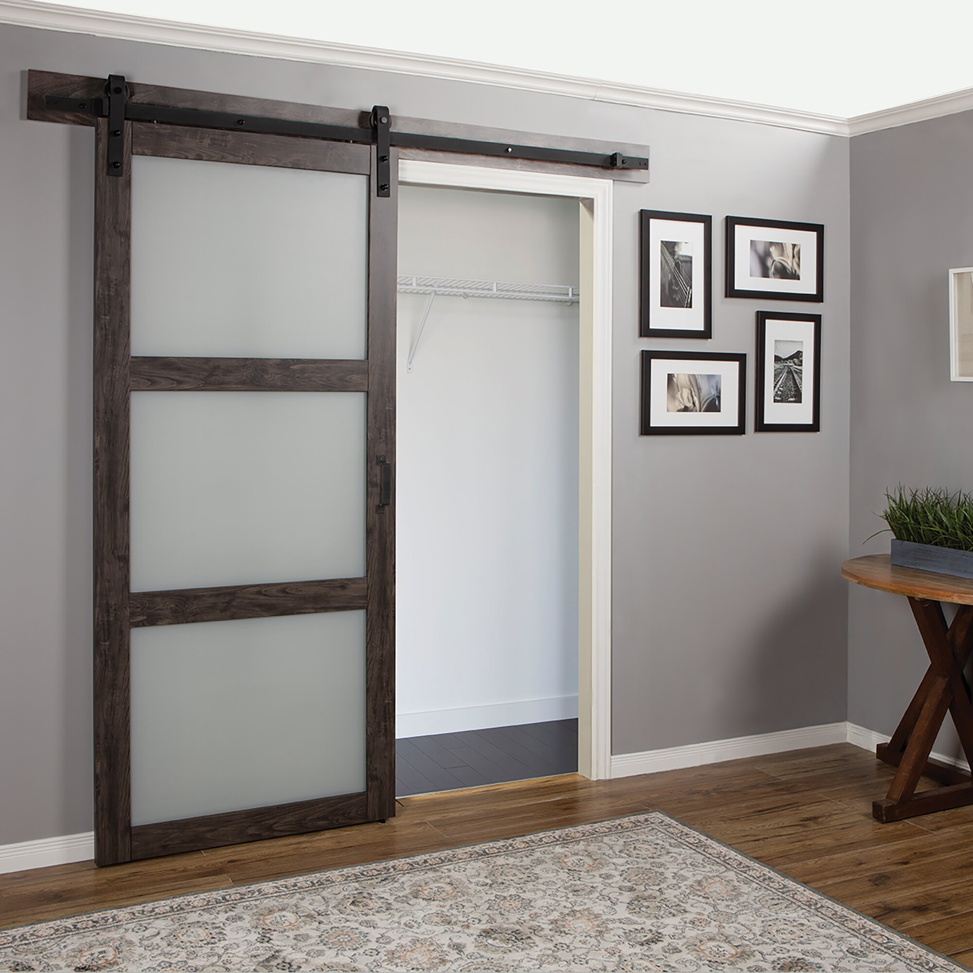 continental frosted glass 1 panel ironage laminate interior barn door - Erias Home Designs